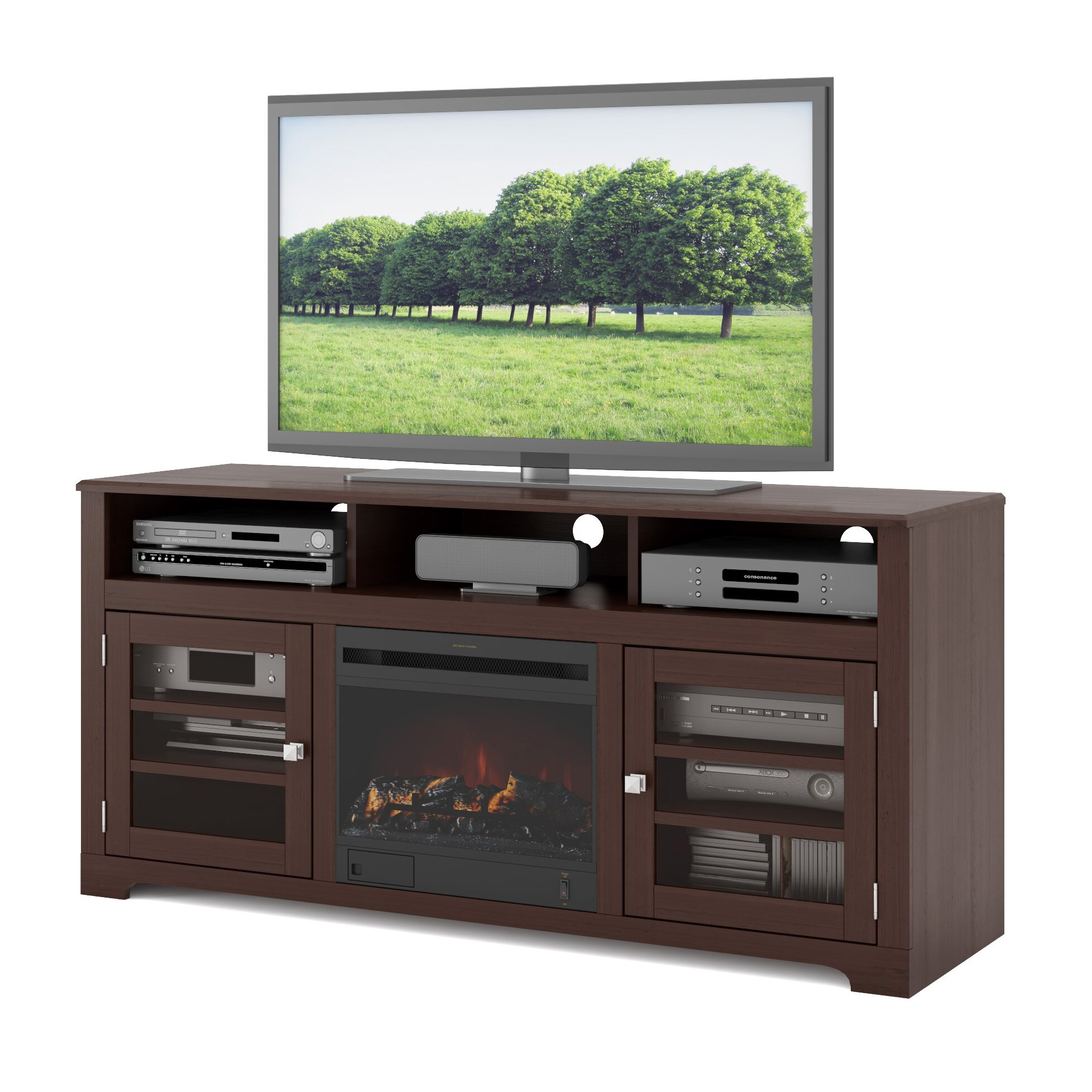 Dcor Design West Lake Tv Stand With Electric Fireplace Reviews Wayfair