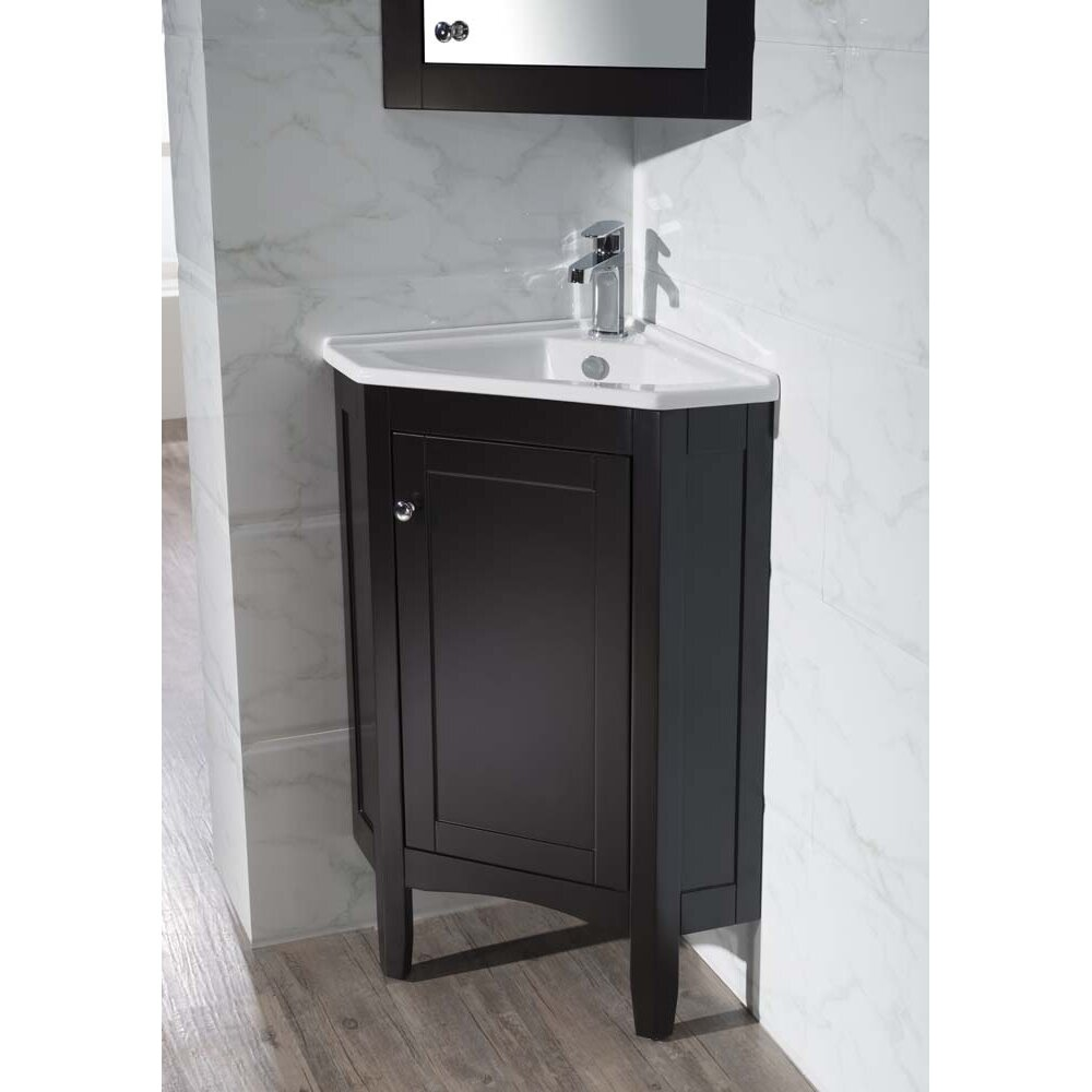 Dcor design argo 25 single corner bathroom vanity set for Bathroom mirror set