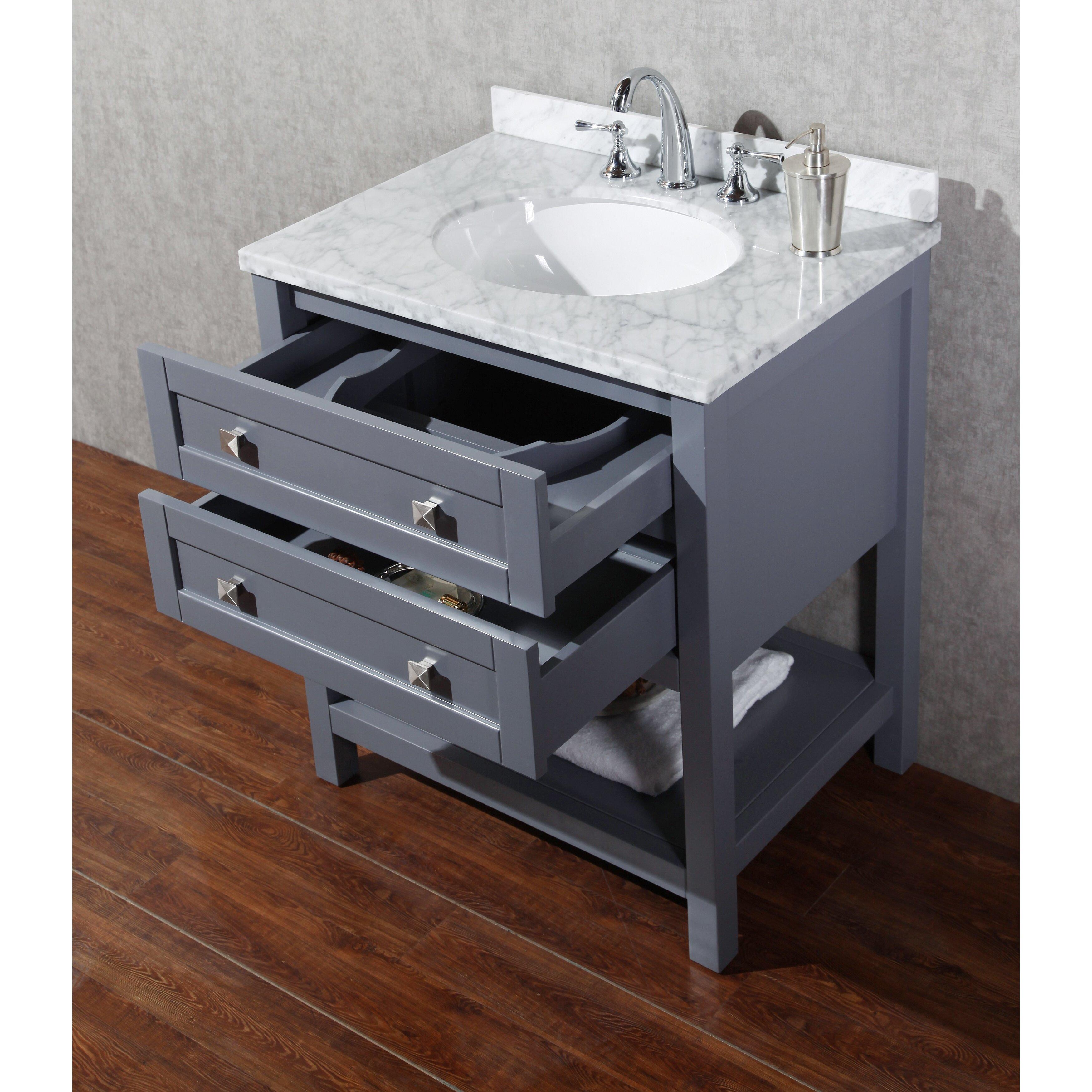 "dCOR design Albia 30"" Single Modern Bathroom Vanity Set with Mirror &amp"