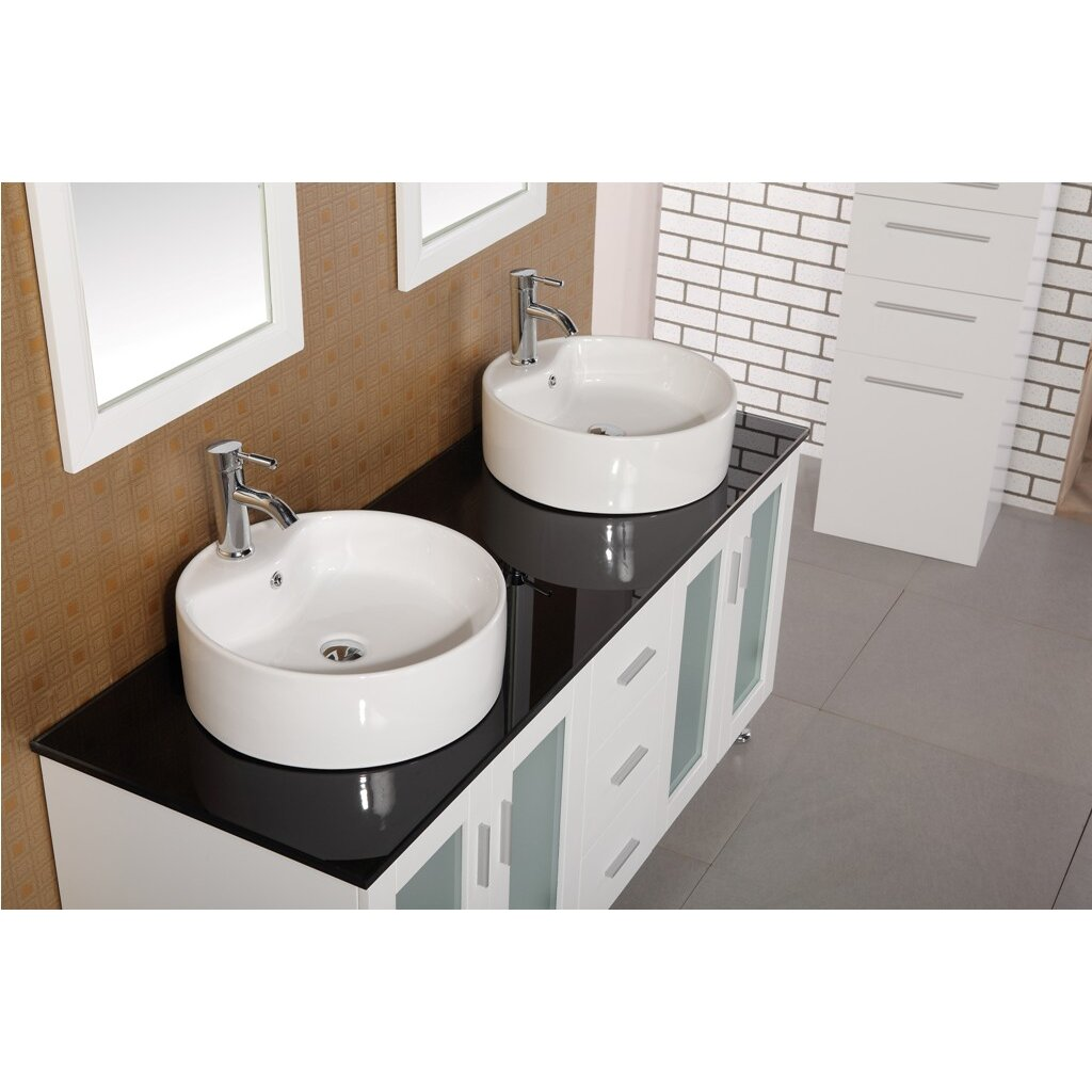 Dcor Design Palm Springs 60 Double Bathroom Vanity Set With Mirror Reviews Wayfair