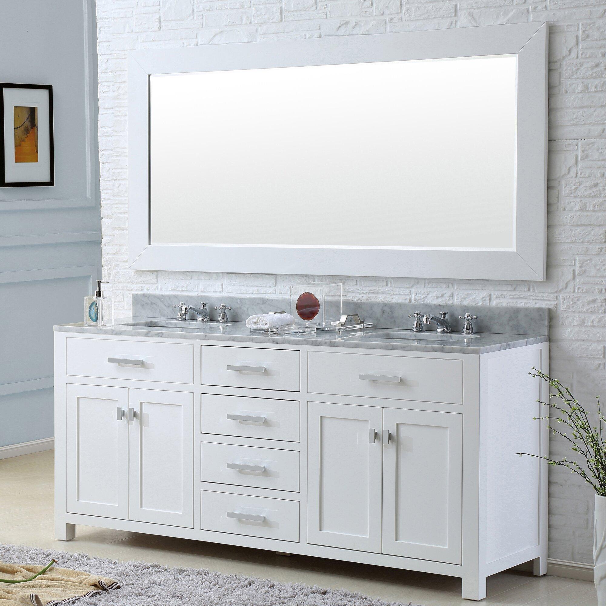 Dcor design creighton 60 double bathroom vanity set with for Bathroom mirror set