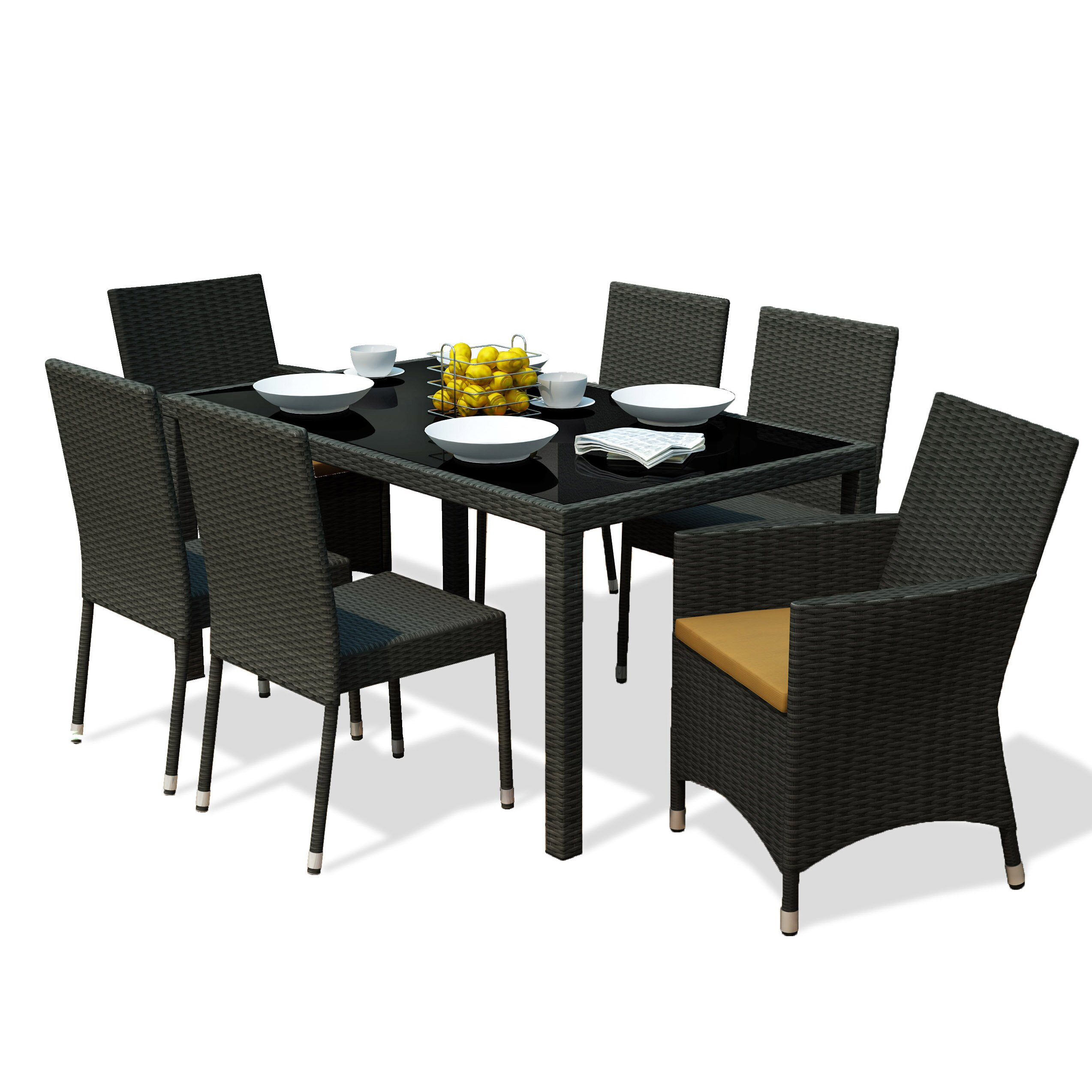 Dcor design park terrace 7 piece dining set reviews for Decor 7 piece lunch set