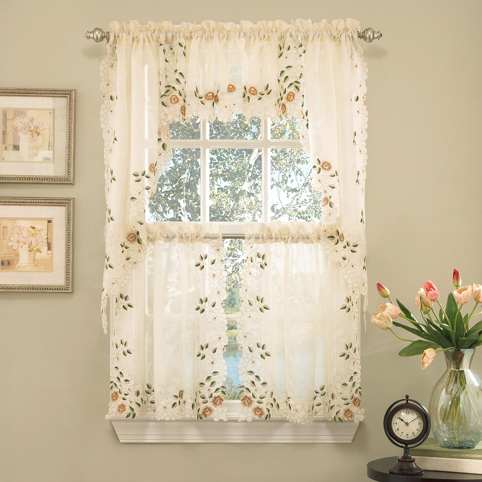 Sweet home collection old world style floral embroidered for Old world curtains and drapes