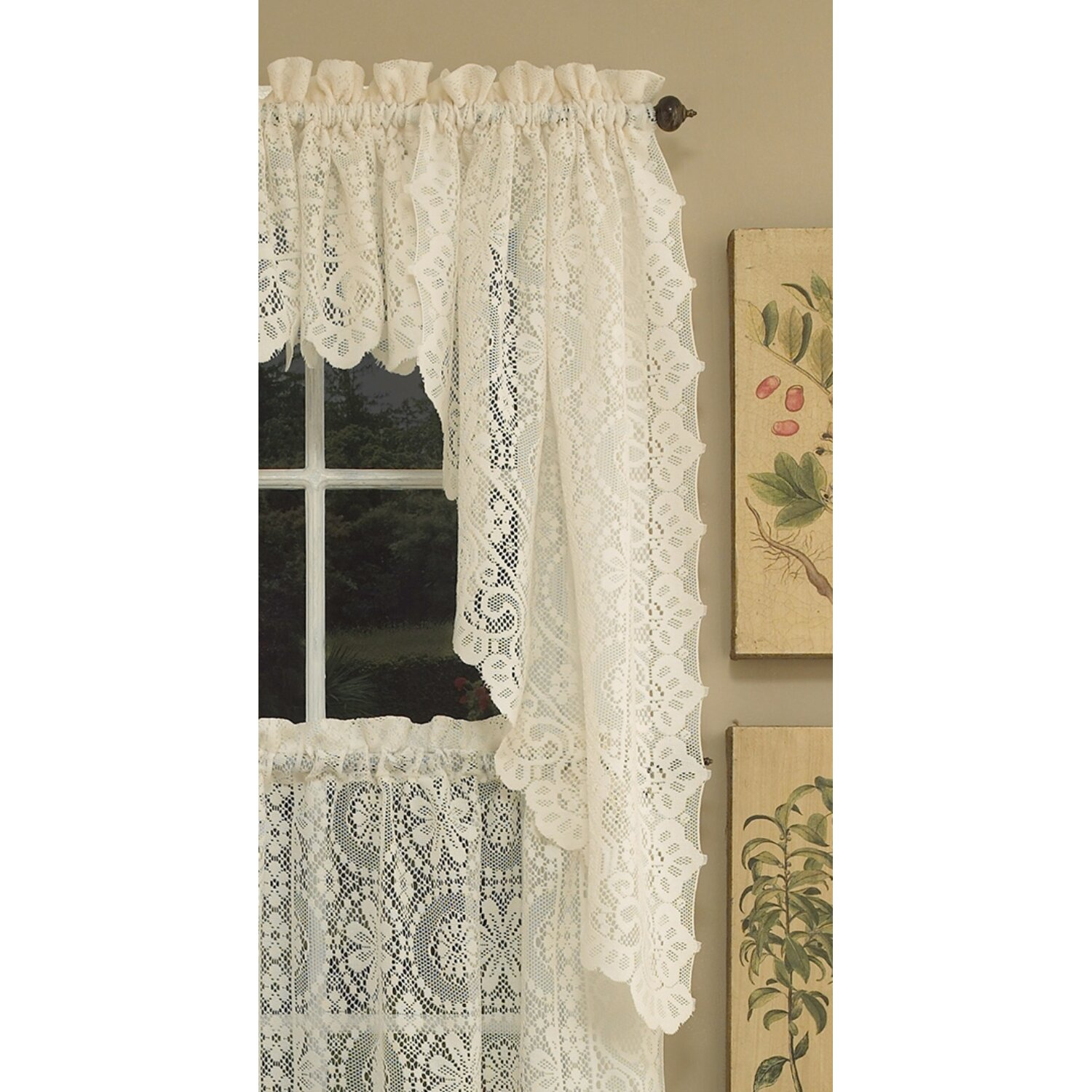 Sweet home collection old world style floral heavy lace for Old world curtains and drapes
