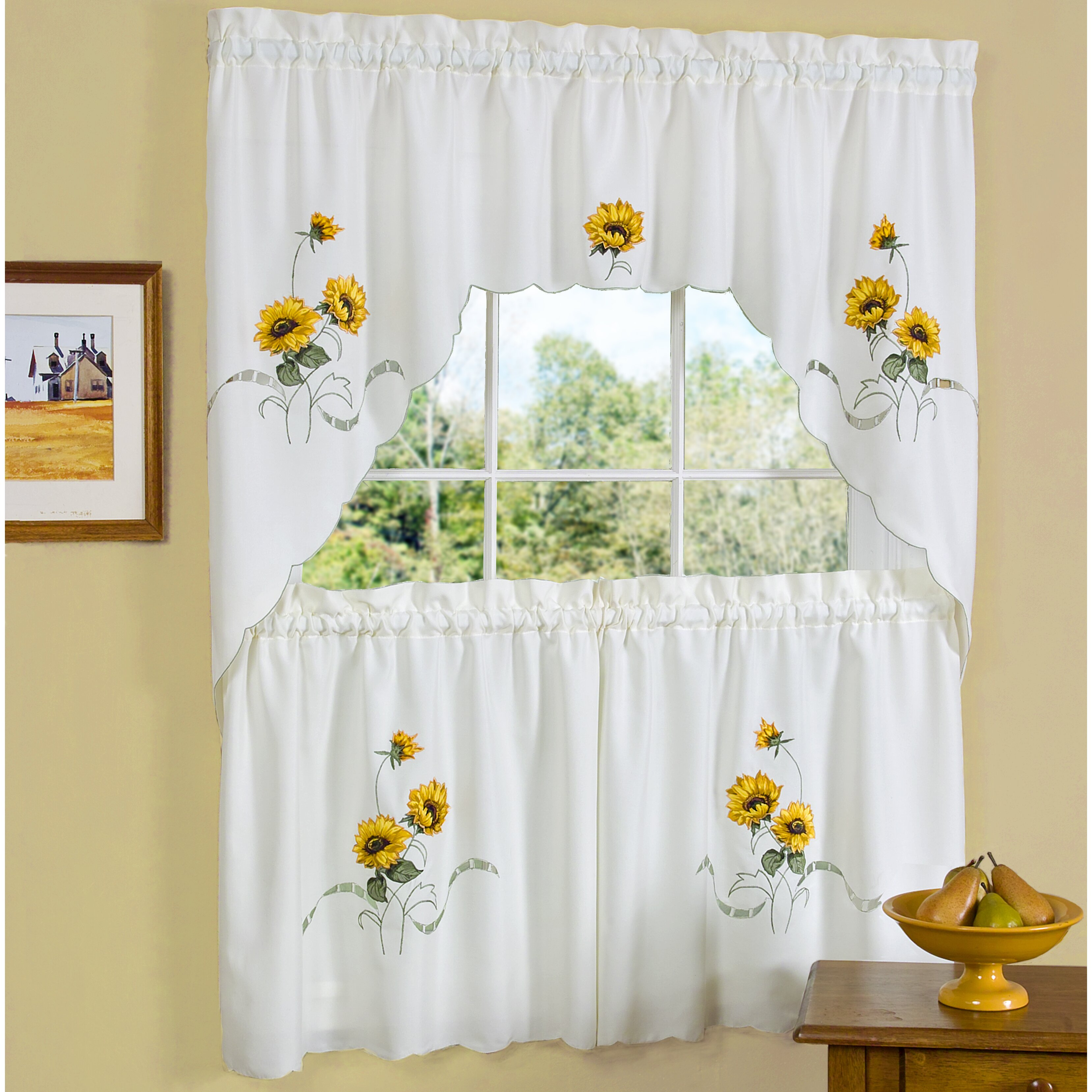Sweet Home Collection Sunshine Valance and Tier Set ...