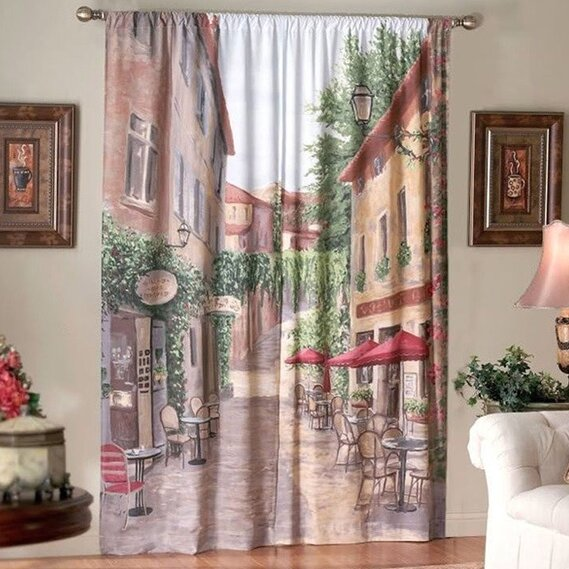 Sweet home collection european cafe curtain panel wayfair for European home collection