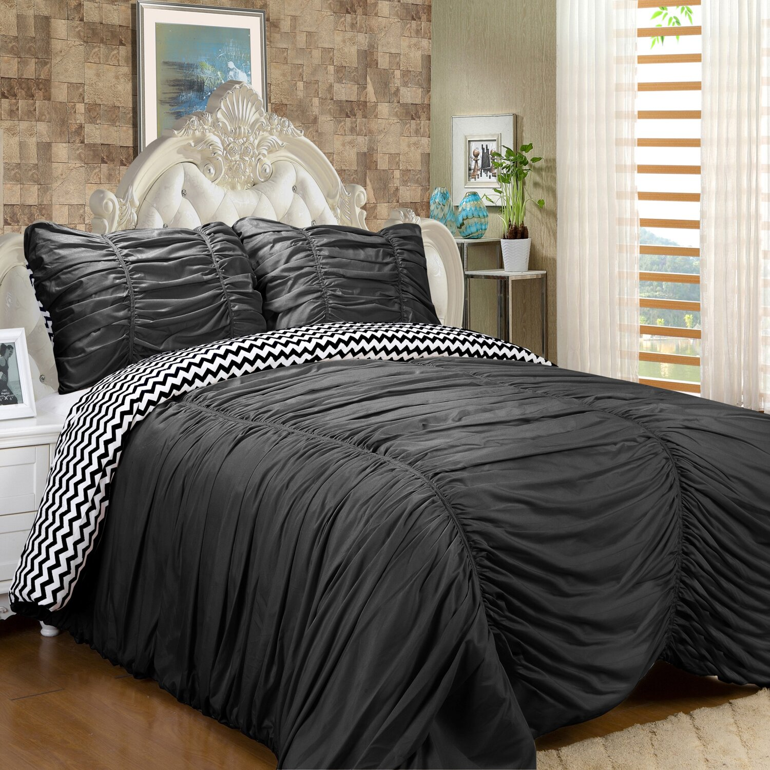 Sweet Home Collection Isabella 3 Piece Reversible ...