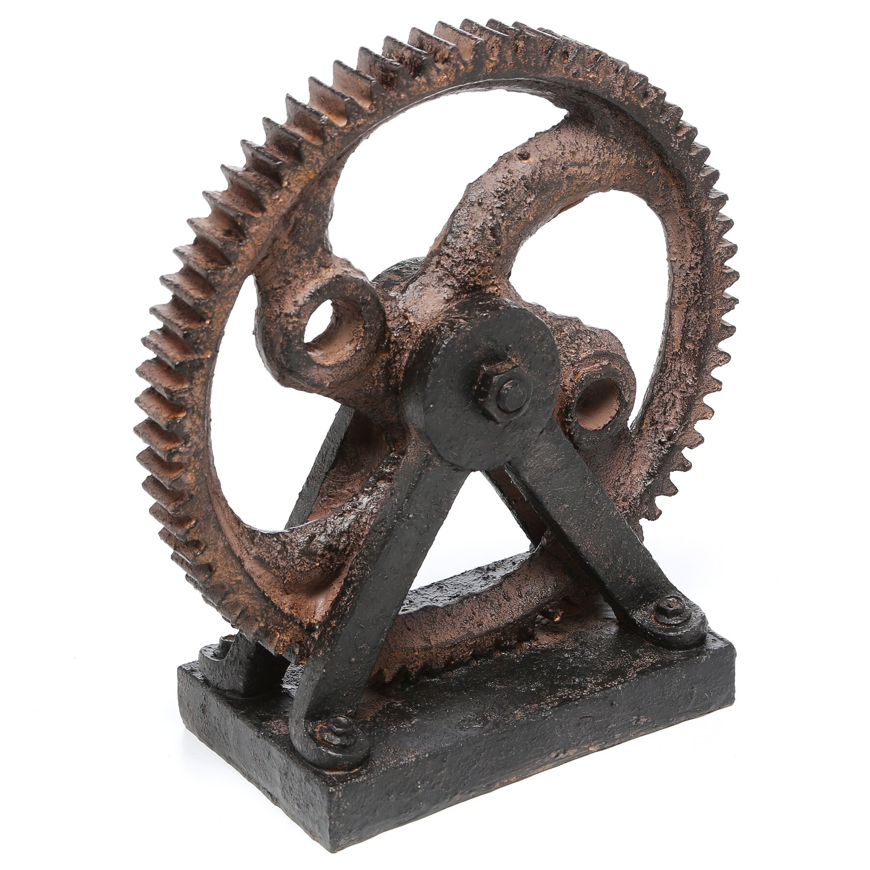 Mercury row solorio industrial style rusted gear d cor sculpture review - Statue decorative d interieur ...