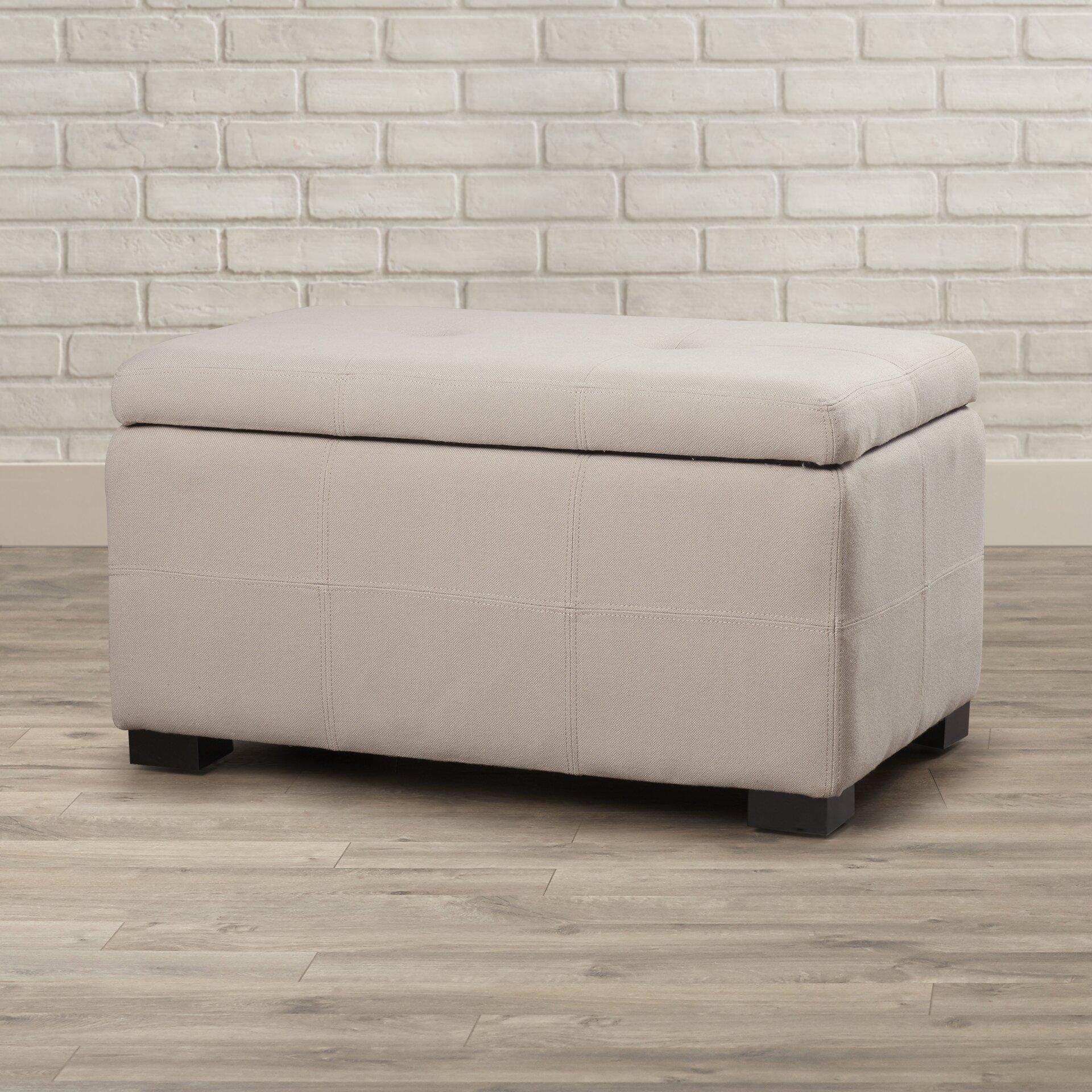 mercury row tufted beige linen storage bedroom bench reviews wayfair. Black Bedroom Furniture Sets. Home Design Ideas
