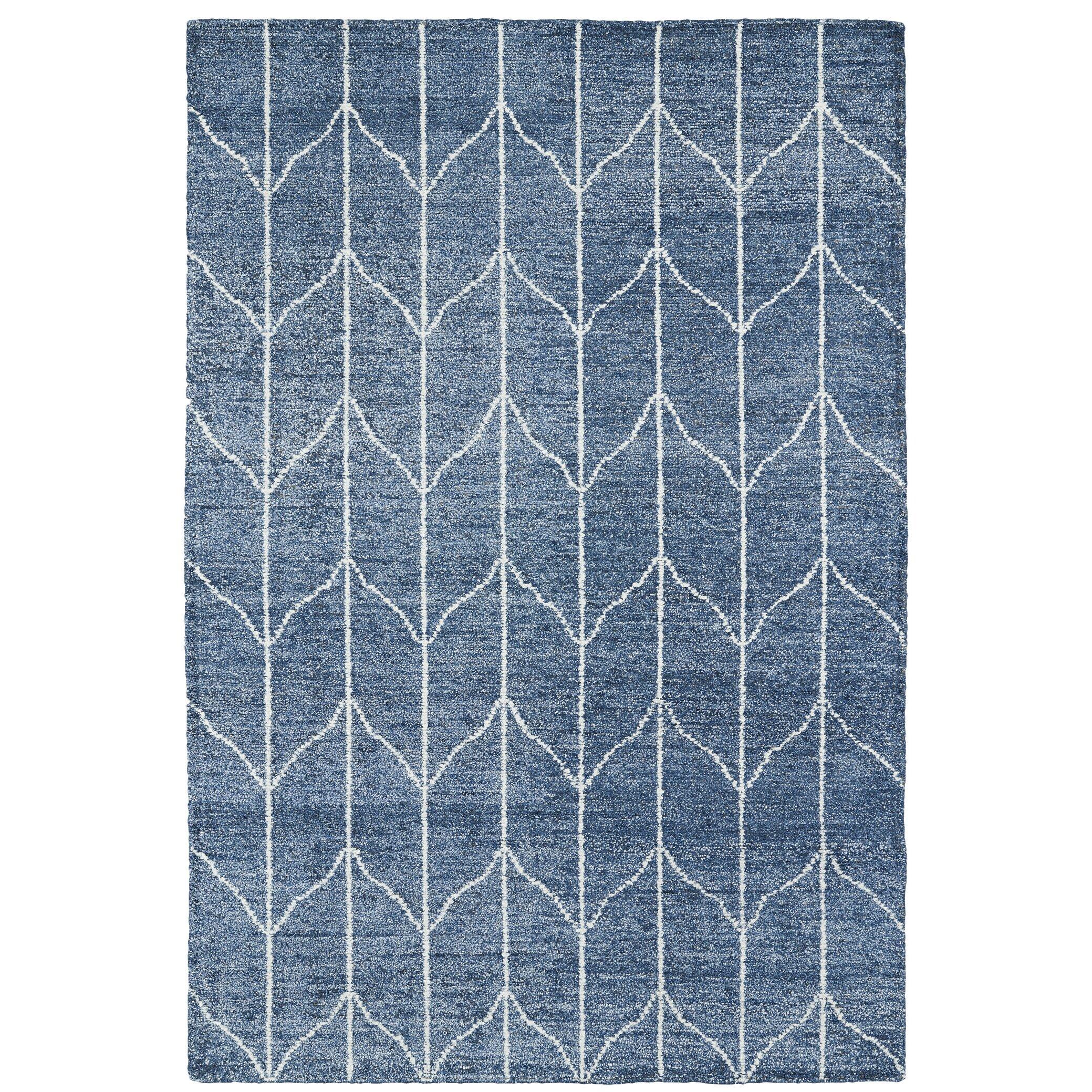 Tuscan Viga Chevron Denim Rug: Mercury Row Handmade Denim Blue / Ivory Area Rug