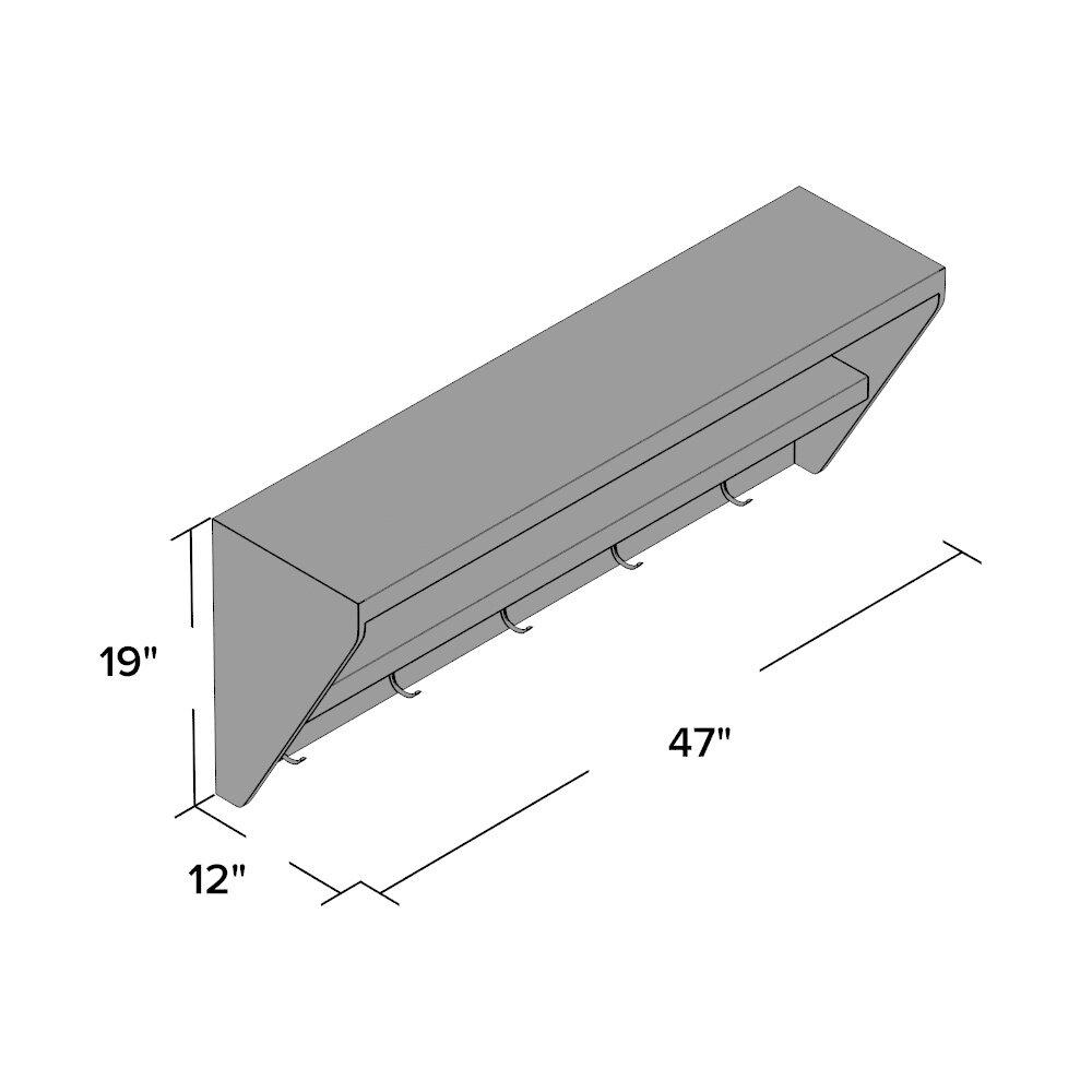 mercury row metsahovi floating entryway shelf coat rack. Black Bedroom Furniture Sets. Home Design Ideas