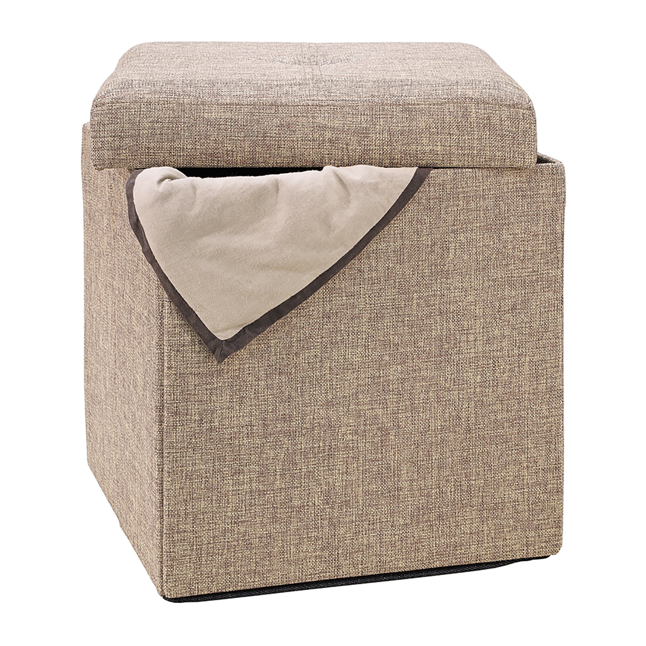 Ottomans Lifestyle Single Ottoman: Simplify Natural Single Folding Storage Cube Ottoman