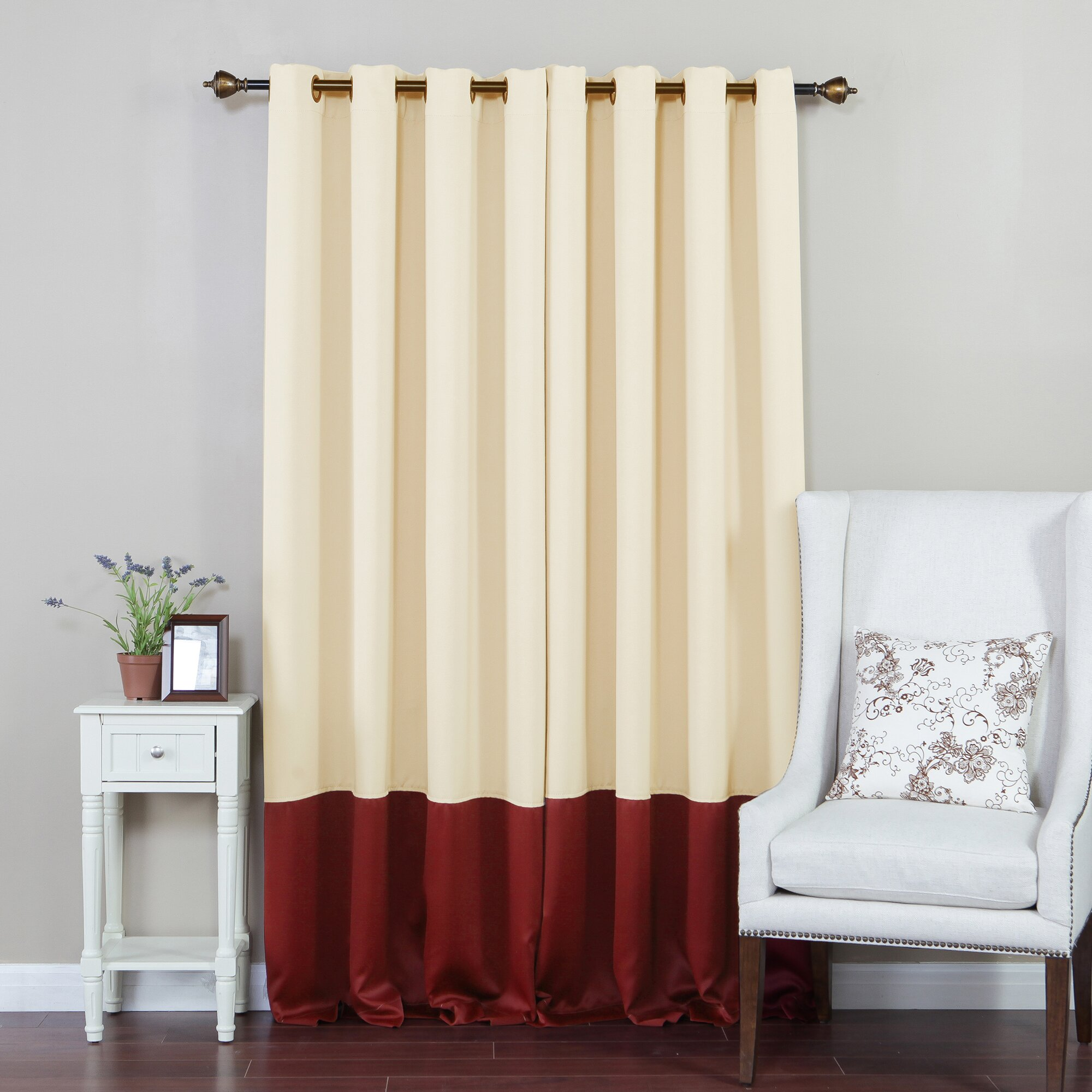 Best Home Fashion Inc Colorblock Insulated Grommet Top Thermal Blackout Curtain Panels