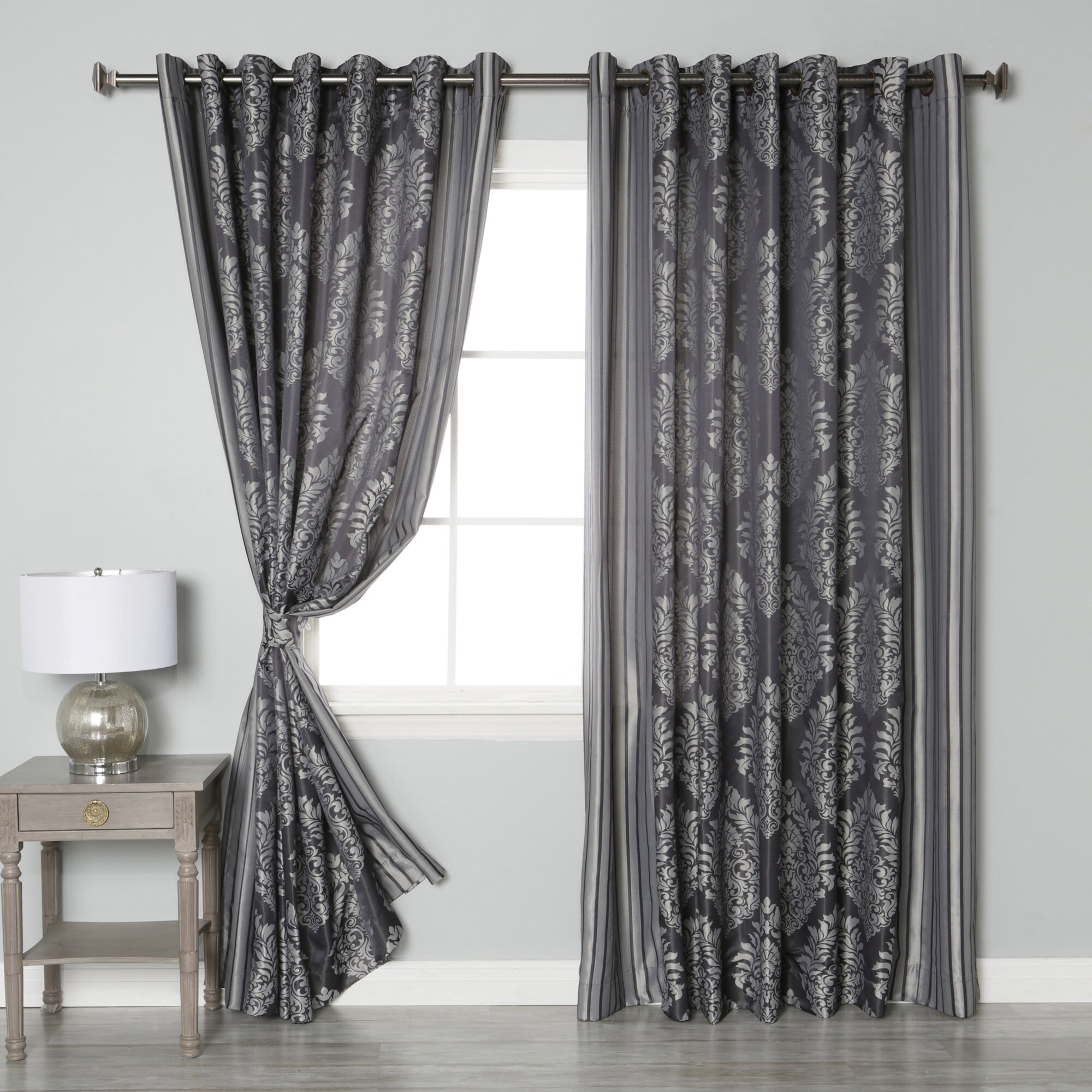 Best Home Fashion Inc Wide Width Damask Jacquard Grommet