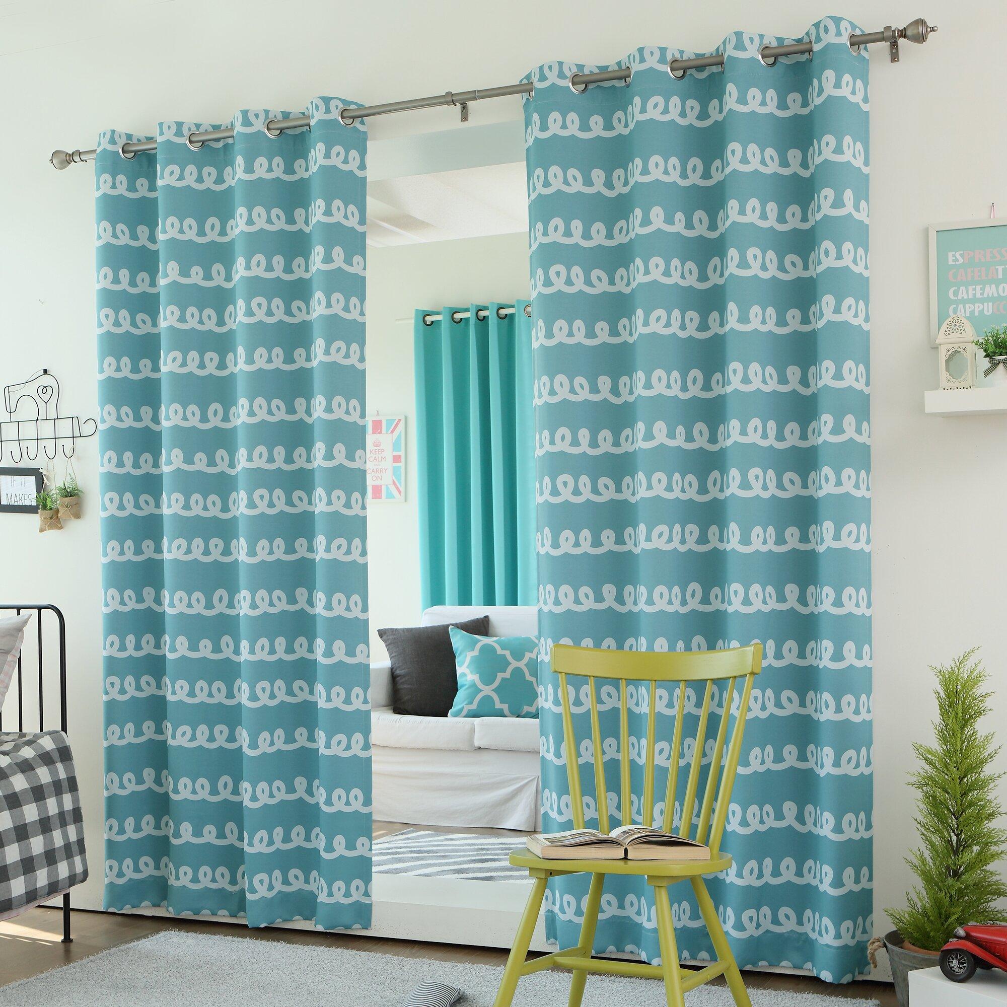 Best Home Fashion Inc Doodle Print Grommet Top Room Darkening Curtain Panels Reviews Wayfair
