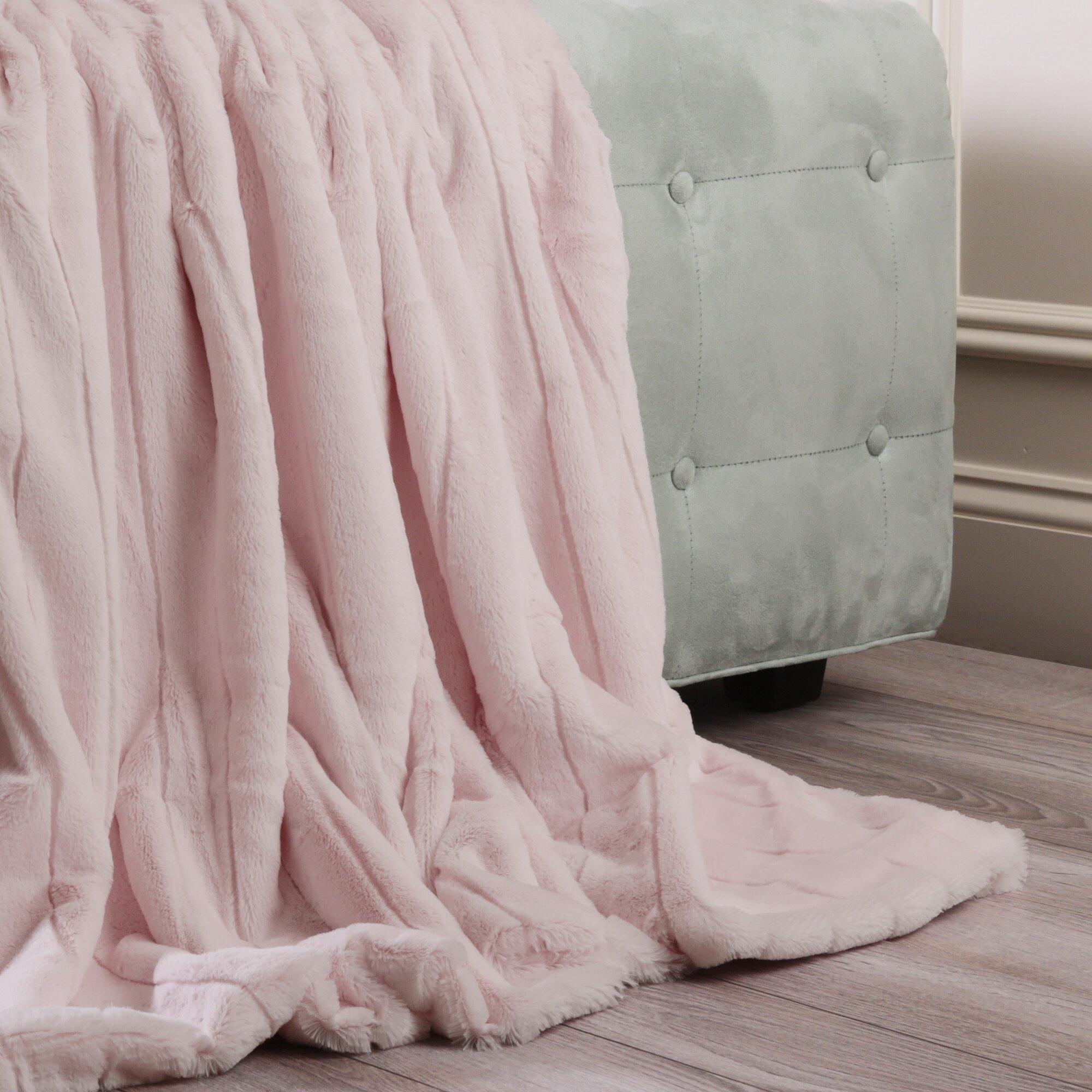 best home fashion inc luxe mink faux fur throw blanket reviews wayfair. Black Bedroom Furniture Sets. Home Design Ideas