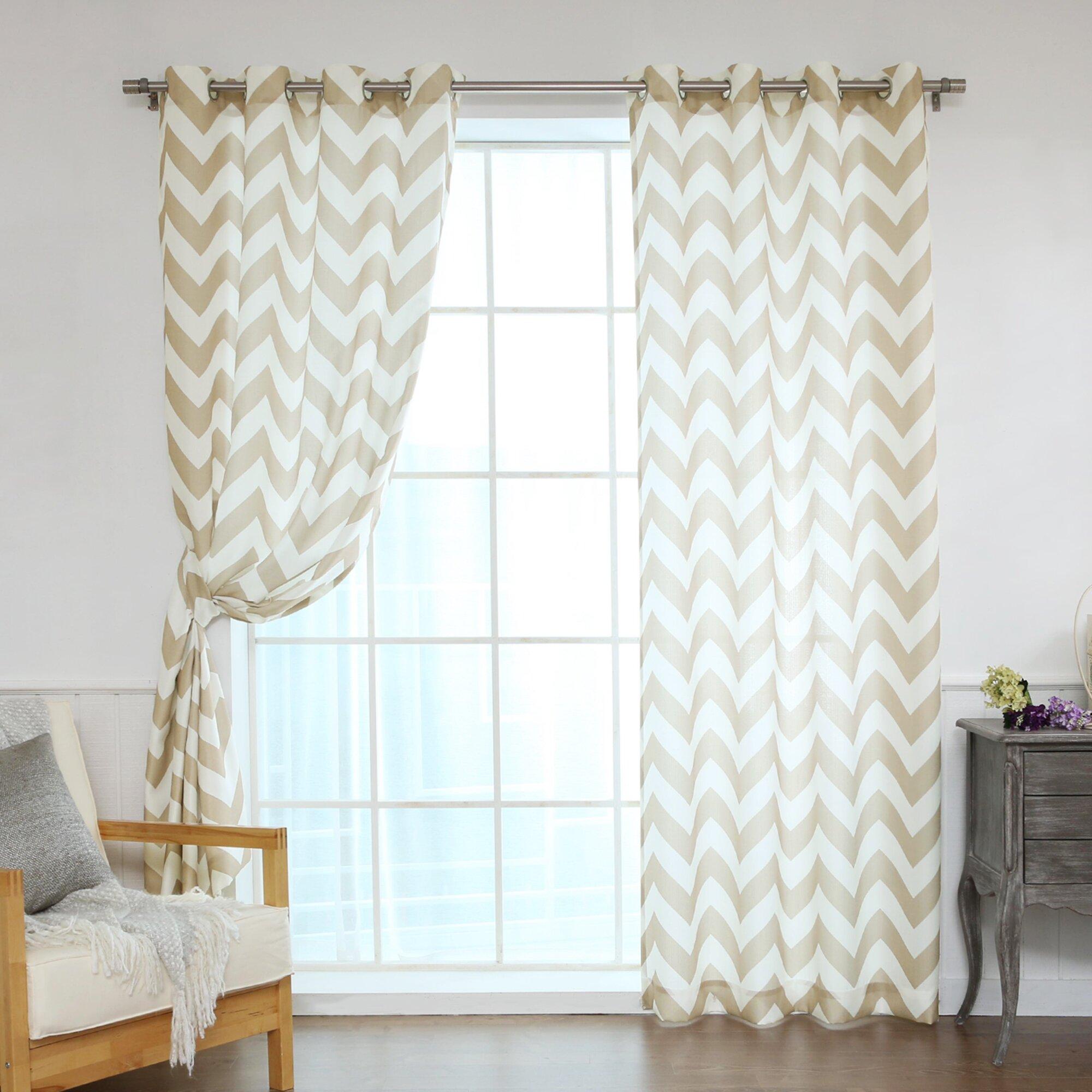 best home fashion inc oxford chevron curtain panels. Black Bedroom Furniture Sets. Home Design Ideas