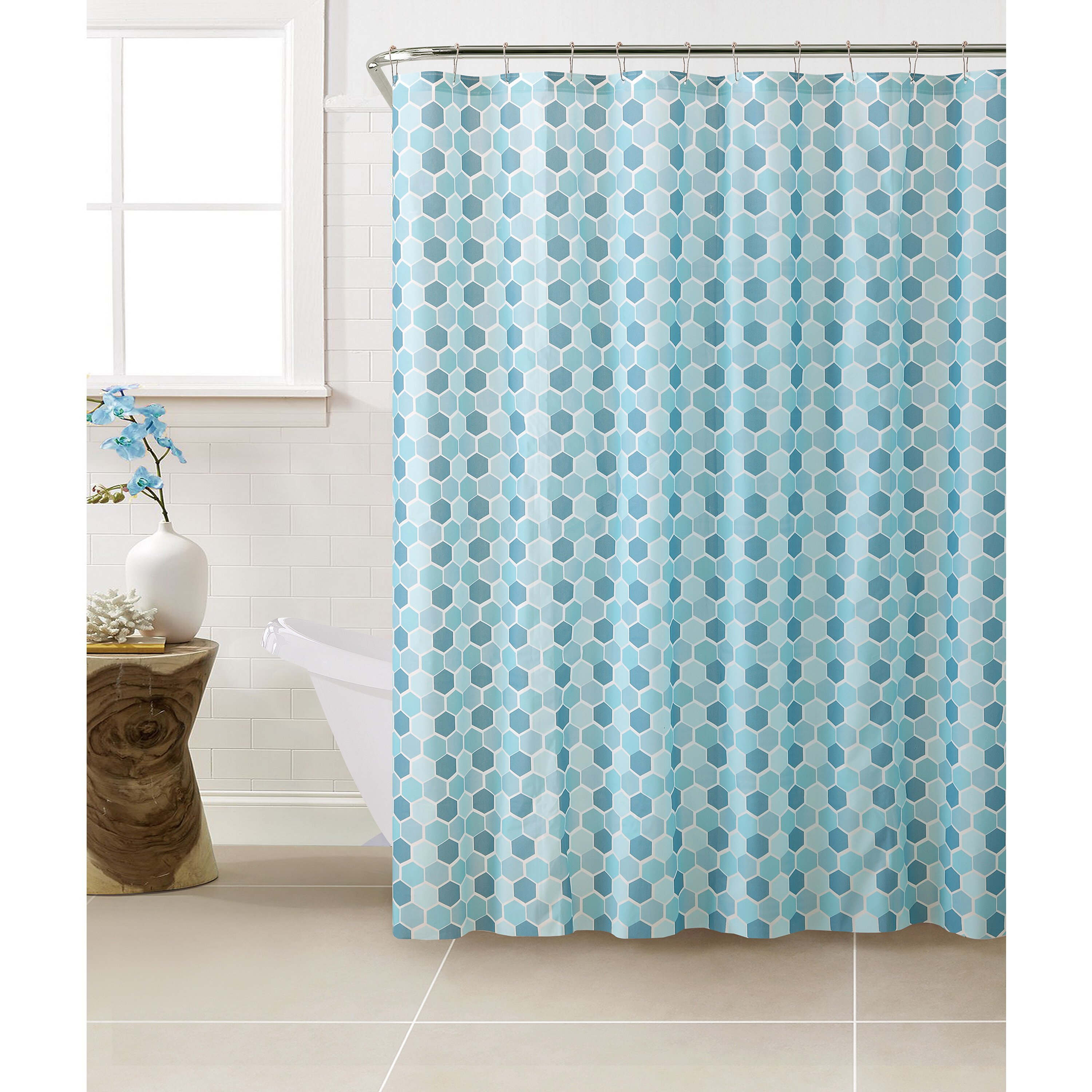 bath bliss peva hexagon design shower curtain set wayfair