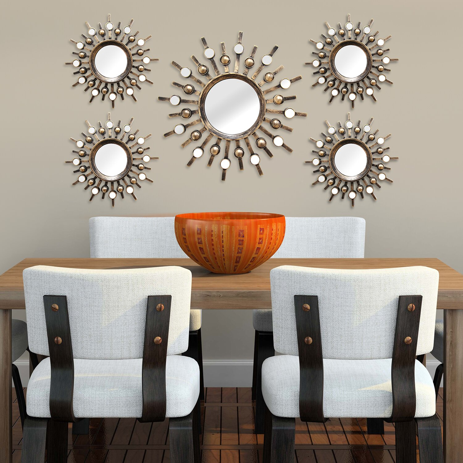 Stratton home decor burst 5 piece mirror set reviews wayfair - Home decorated set ...