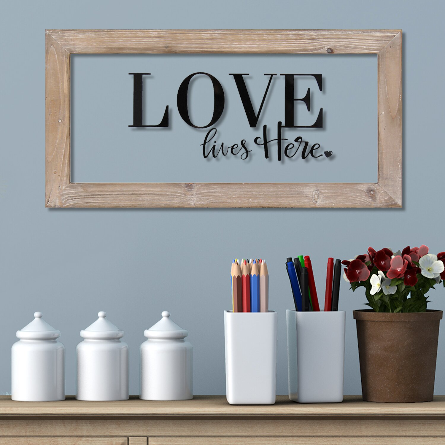 Stratton Home Decor Love Lives Here Framed Textual Art