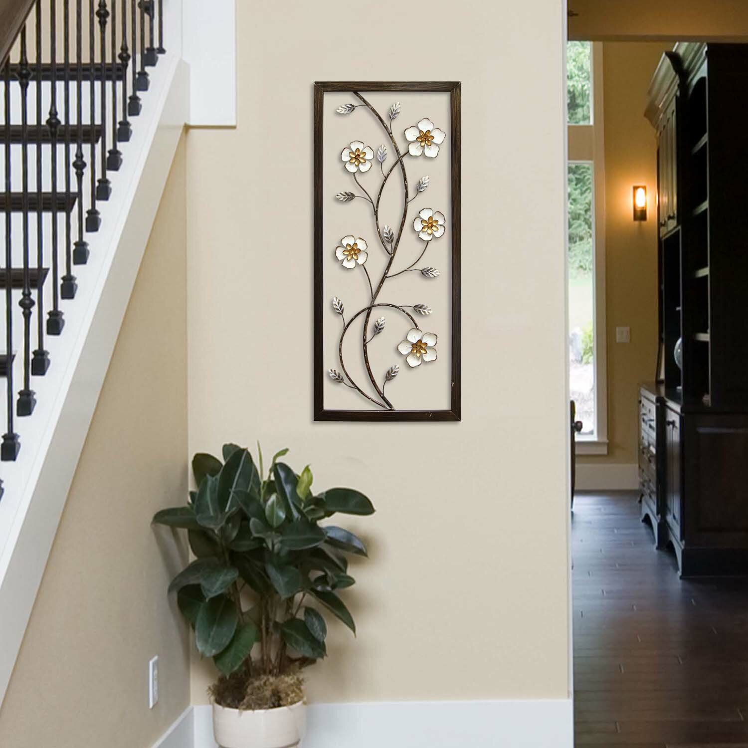 Stratton Home Decor White Blooming Floral Panel Wall Dcor