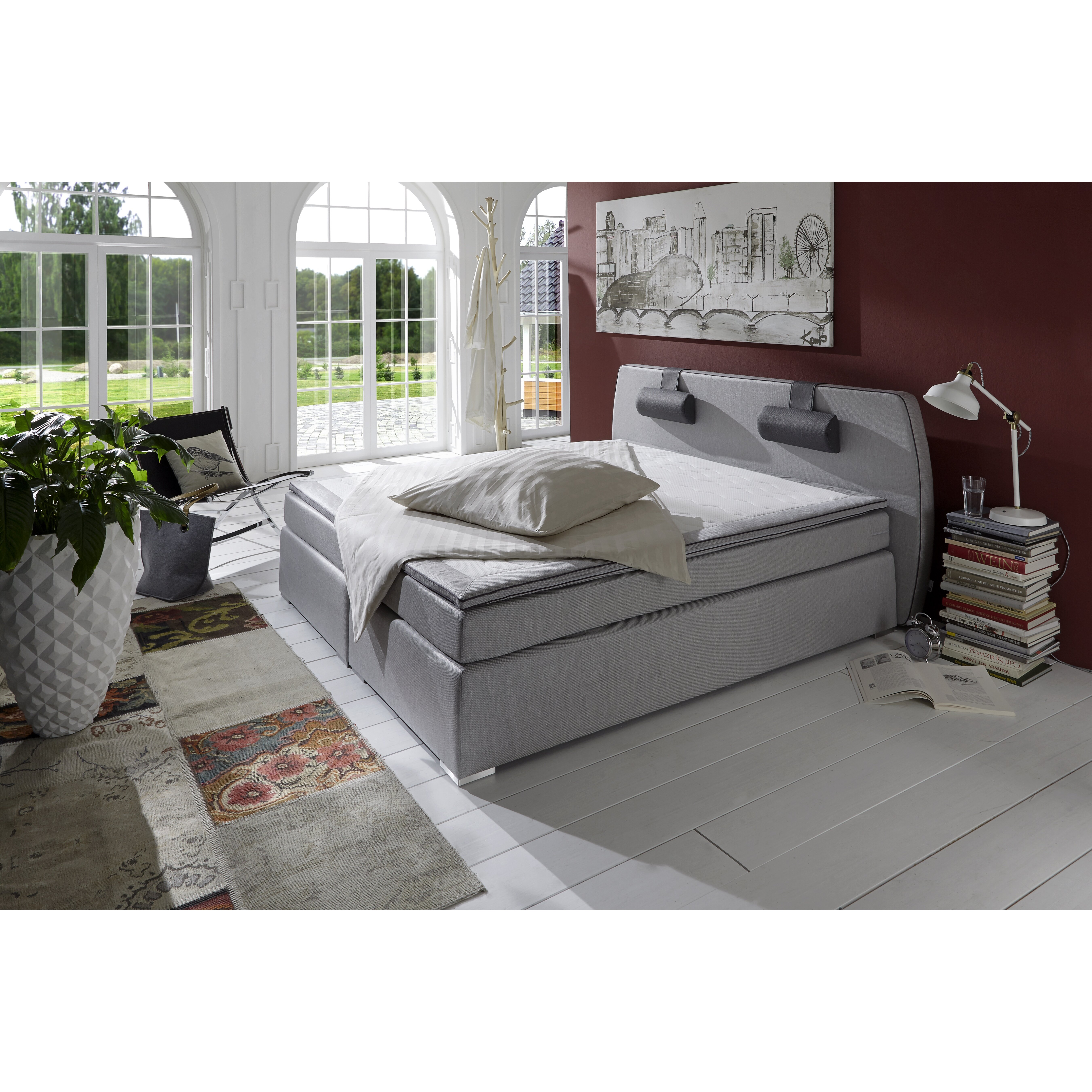 atlantic home collection boxspringbett rex mit topper und. Black Bedroom Furniture Sets. Home Design Ideas