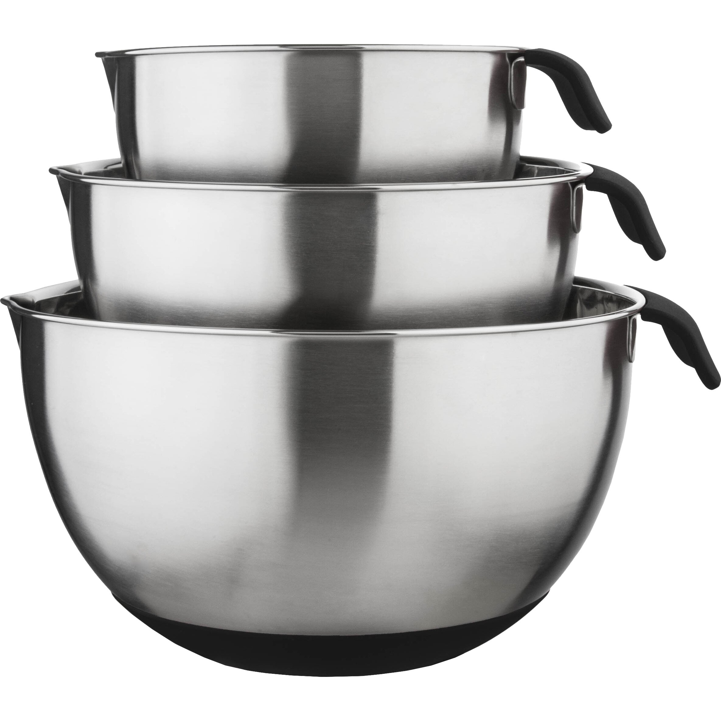 culinary edge 3 piece 18 10 stainless steel mixing bowl set reviews wayfair. Black Bedroom Furniture Sets. Home Design Ideas