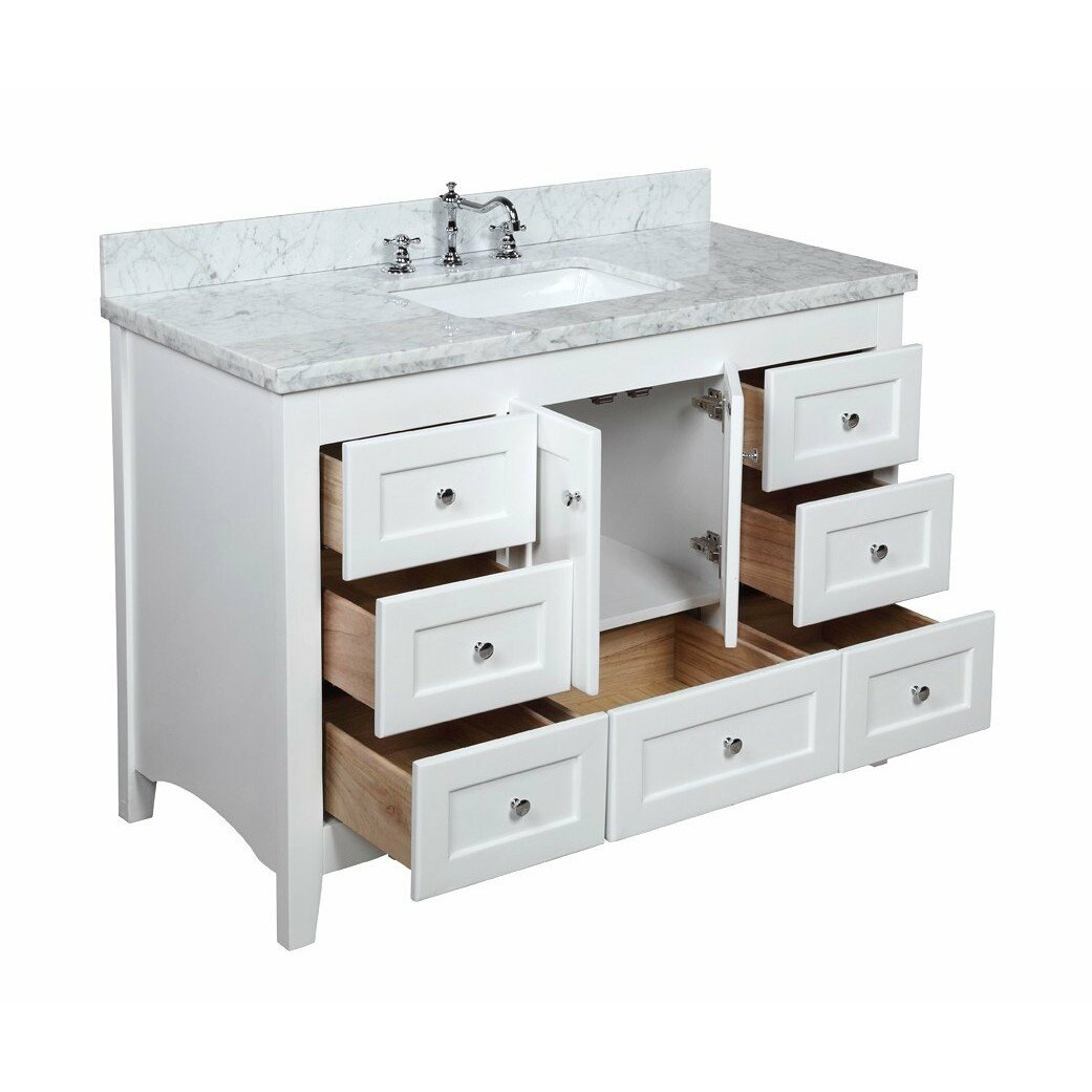 Kbc abbey 48 single bathroom vanity set reviews wayfair for Bath and vanity set