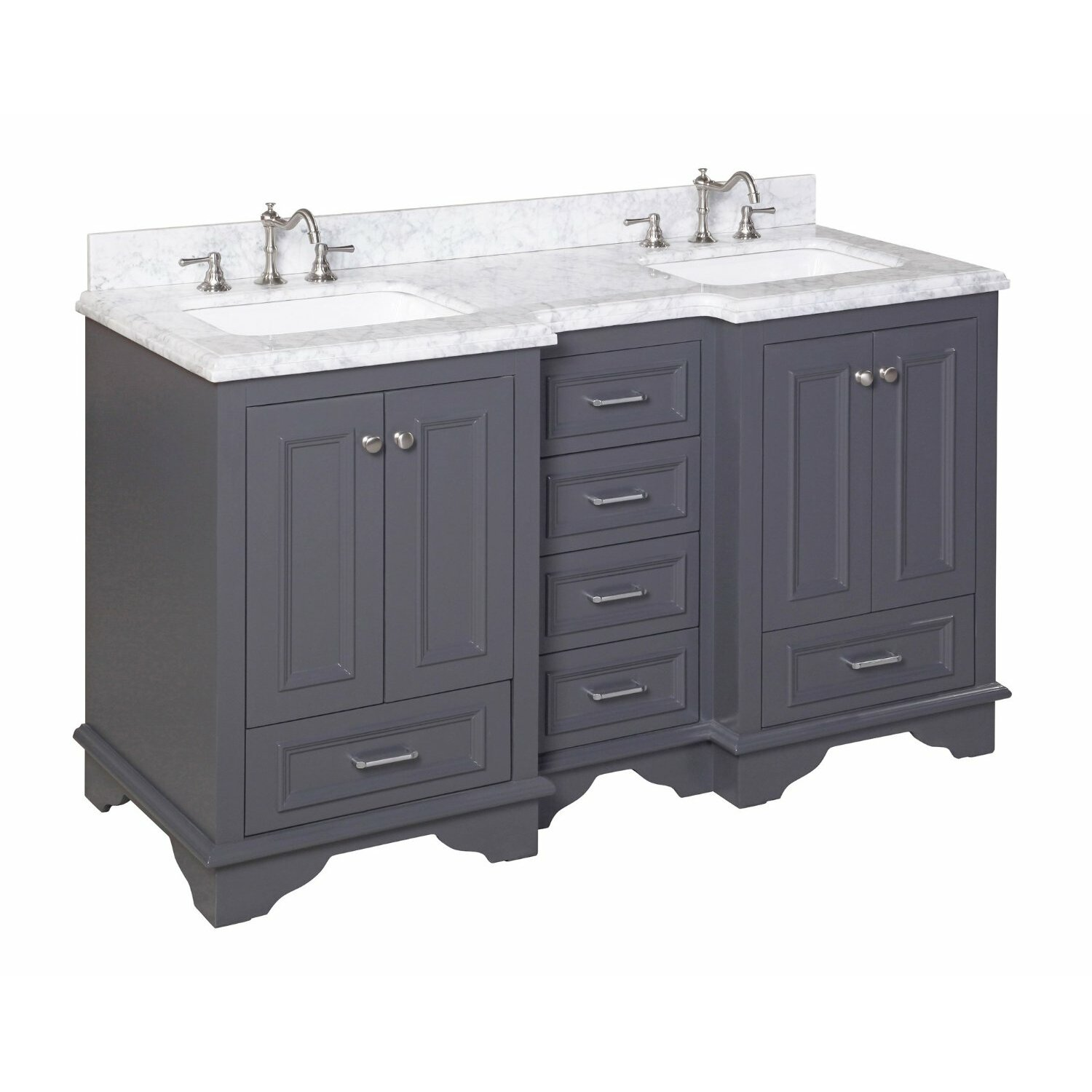Kbc nantucket 60 double sink bathroom vanity set reviews wayfair Bathroom sink and vanity sets
