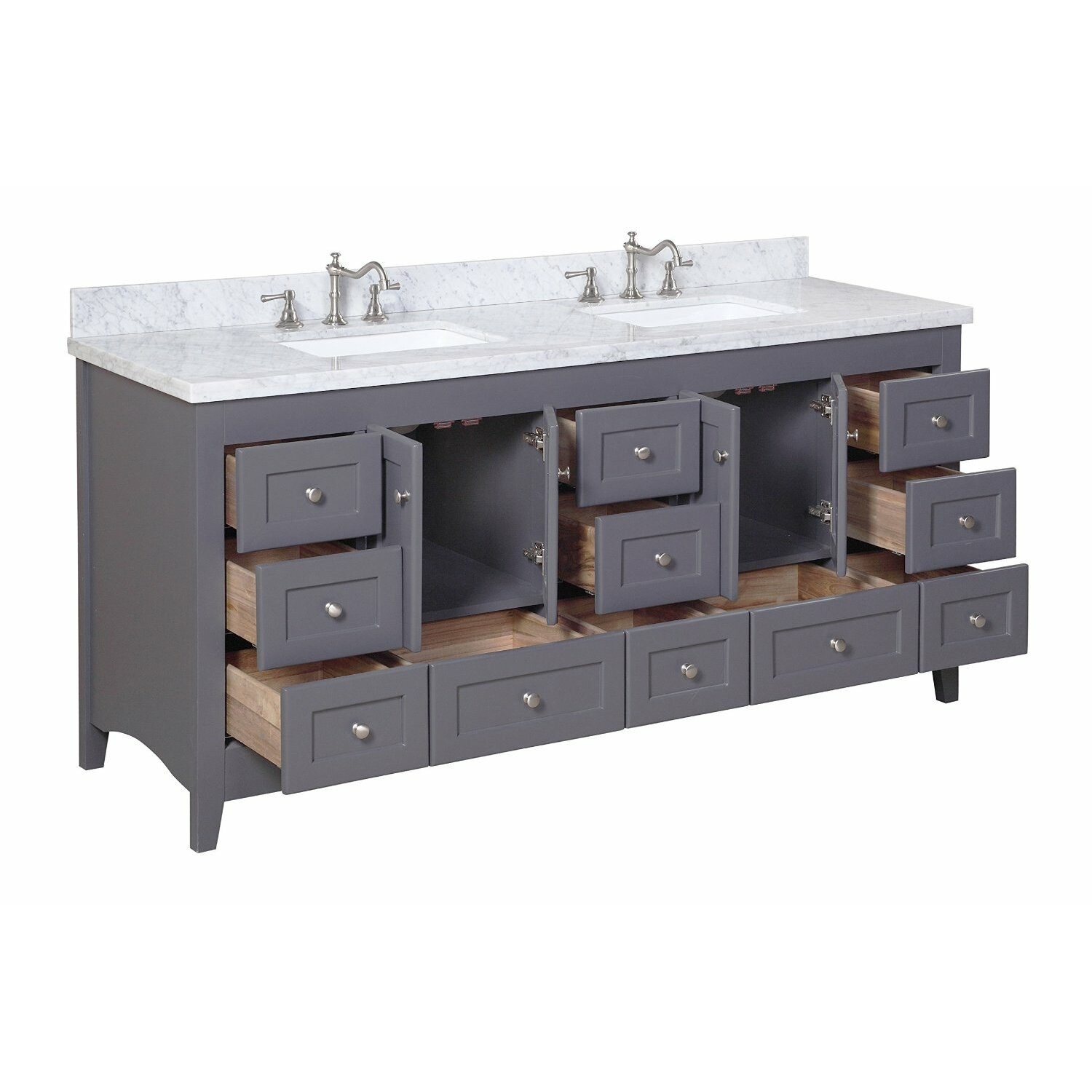 Kbc abbey 72 double bathroom vanity set reviews wayfair for Bathroom 72 double vanity