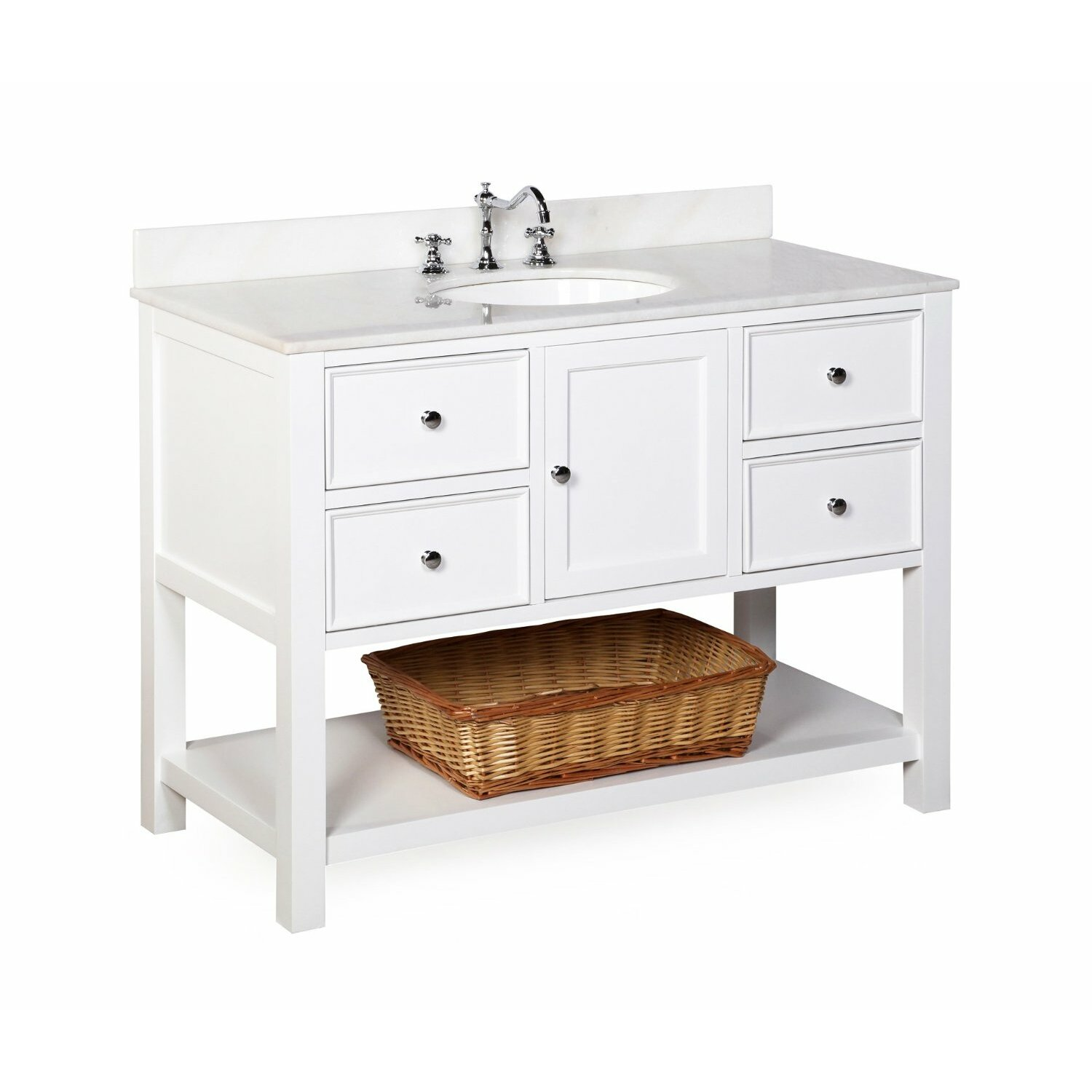 Kbc new yorker 48 single bathroom vanity set reviews for Bath and vanity set