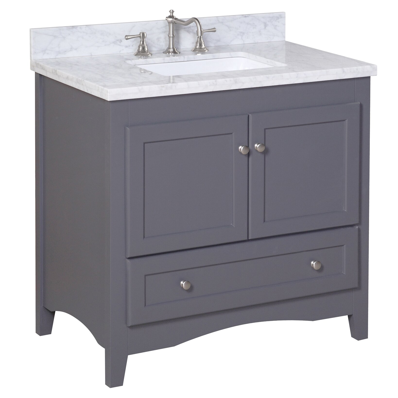 Kbc abbey 36 single bathroom vanity set reviews wayfair for Bath and vanity set