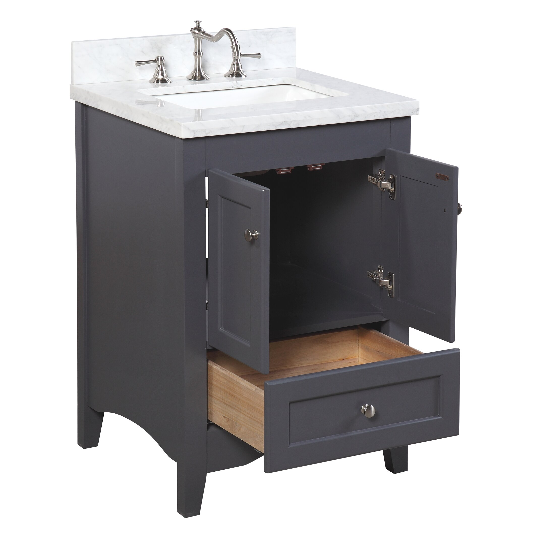 Kbc abbey 24 single bathroom vanity set reviews wayfair for Single bathroom vanity