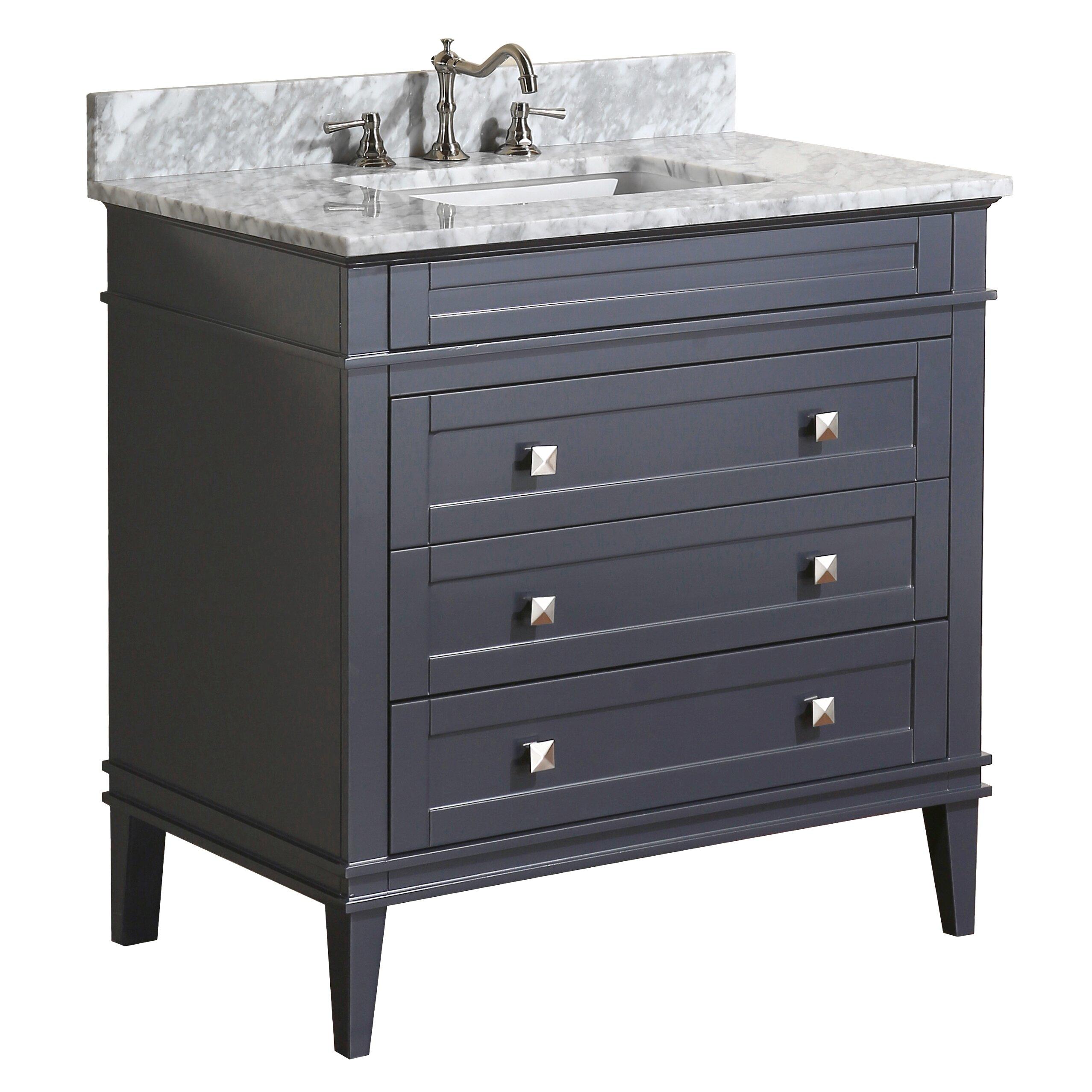 Kbc eleanor 36 single bathroom vanity set reviews wayfair for Kitchen bath cabinets