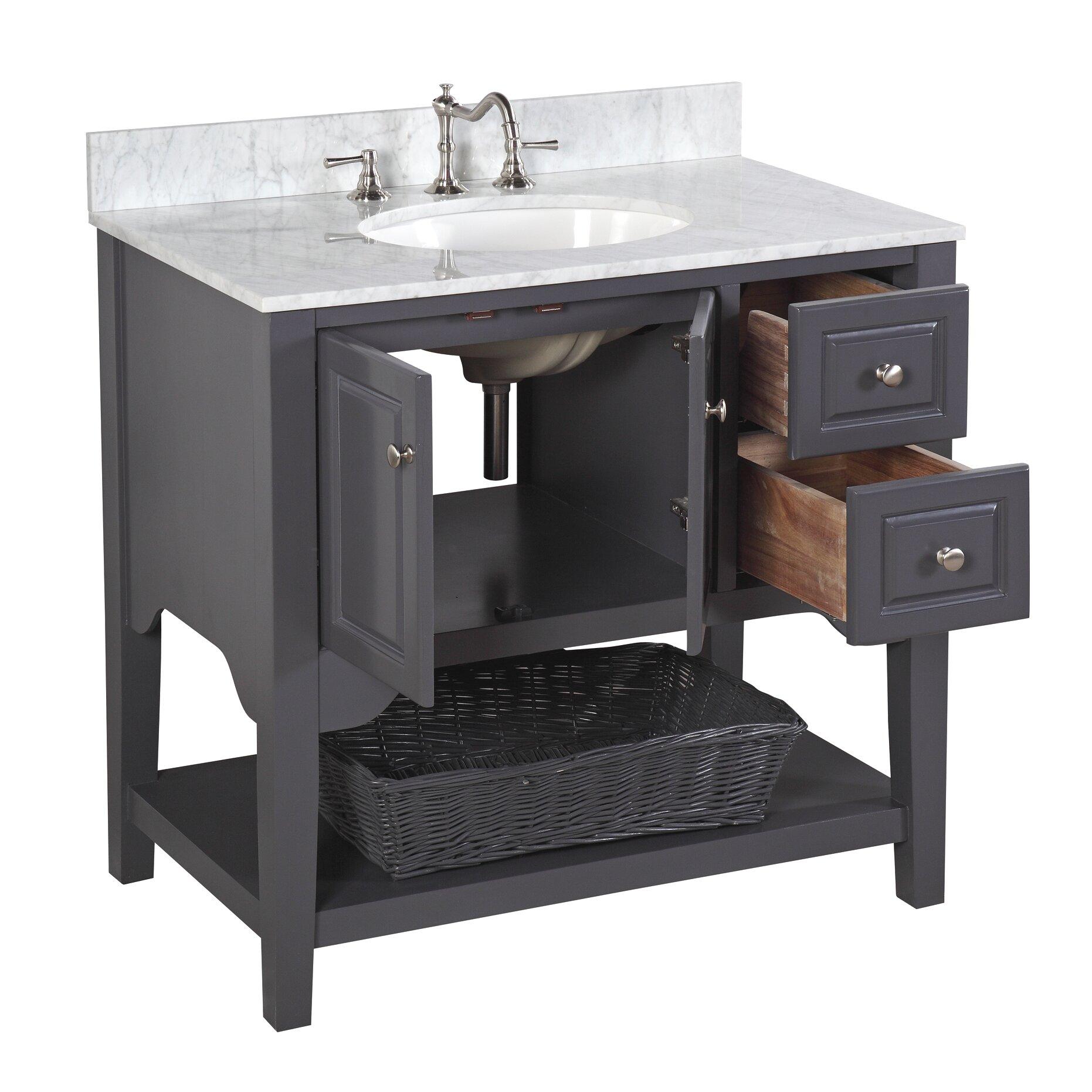 "Kitchen Bathroom Storage Cabinet Floor Stand White Wood: KBC Washington 36"" Single Bathroom Vanity Set & Reviews"