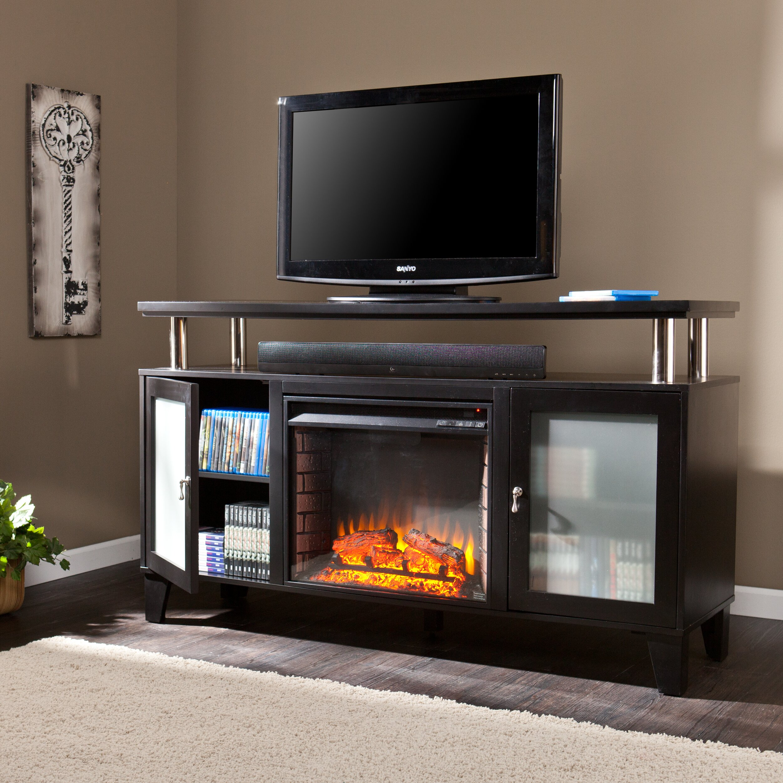 real flame fresno electric fireplace tv stand in white. hawthorne ...