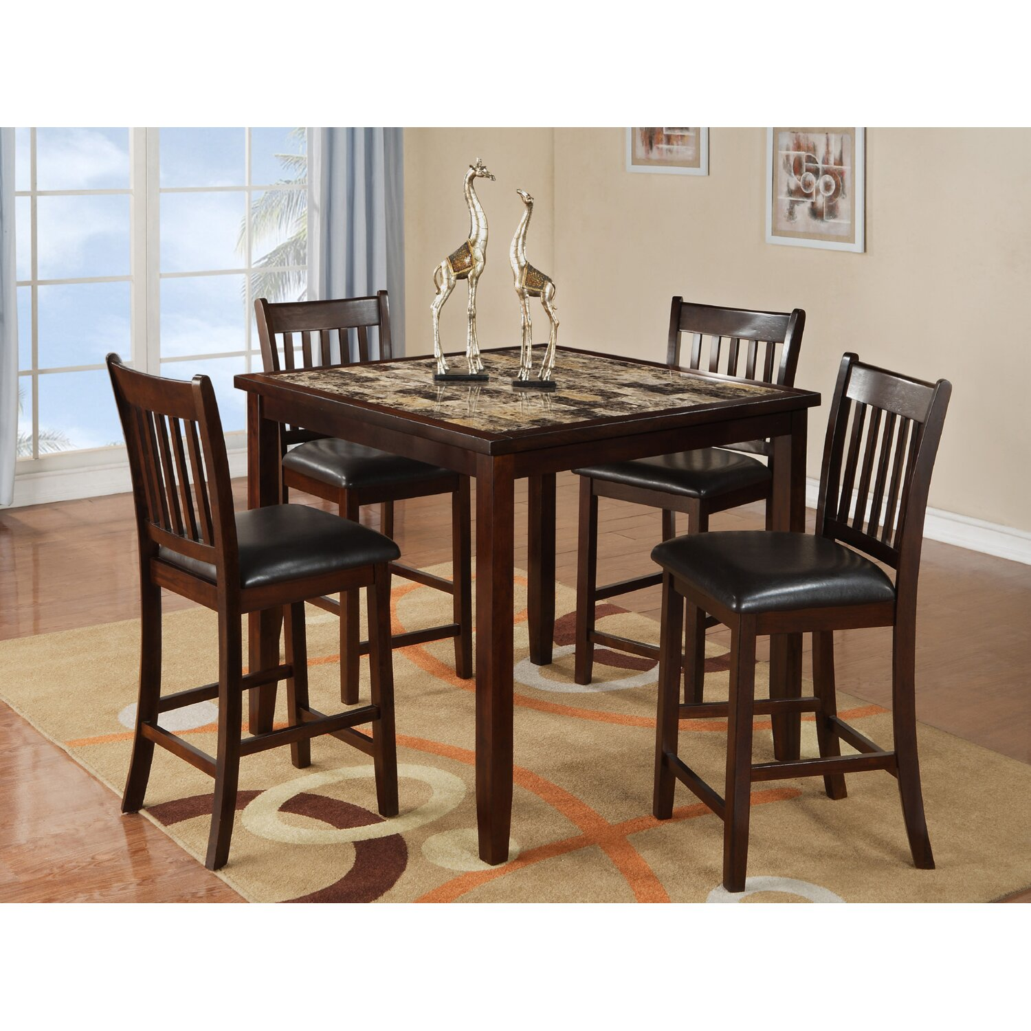 Red Dining Set: Red Barrel Studio Burley Oak 5 Piece Counter Height Dining