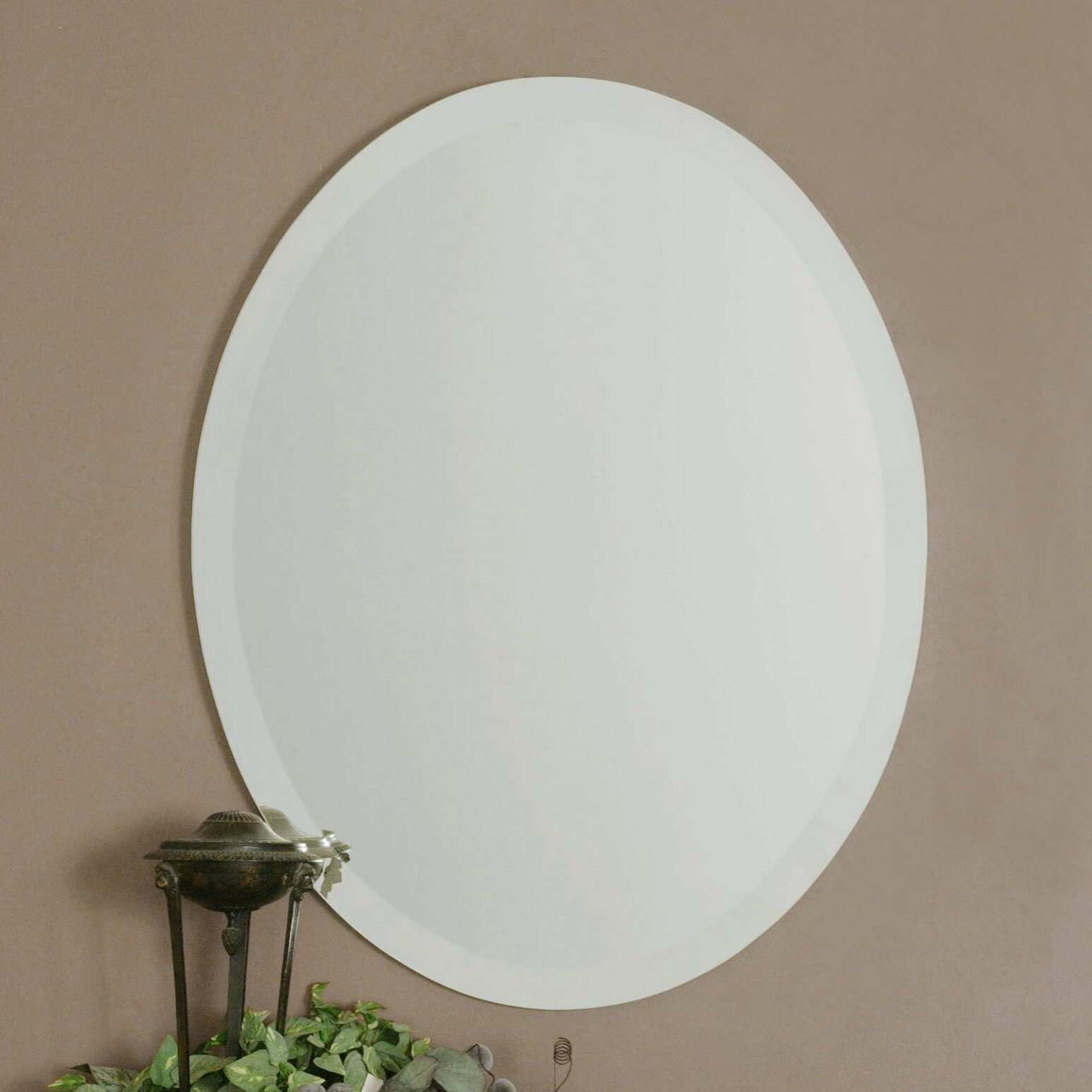 Red barrel studio frameless vanity oval wall mirror for Frameless wall mirror