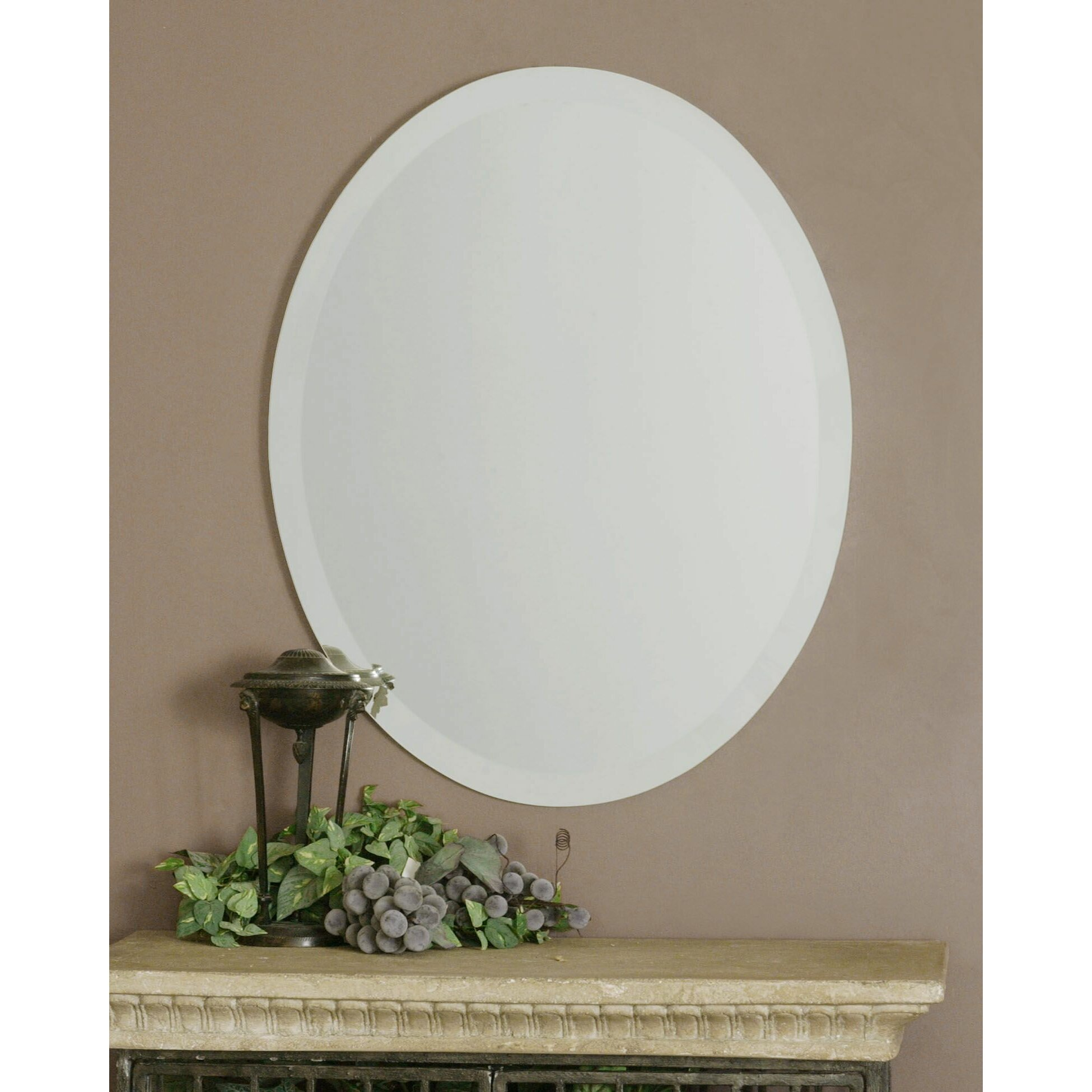Red barrel studio frameless vanity oval wall mirror for Oval wall mirror