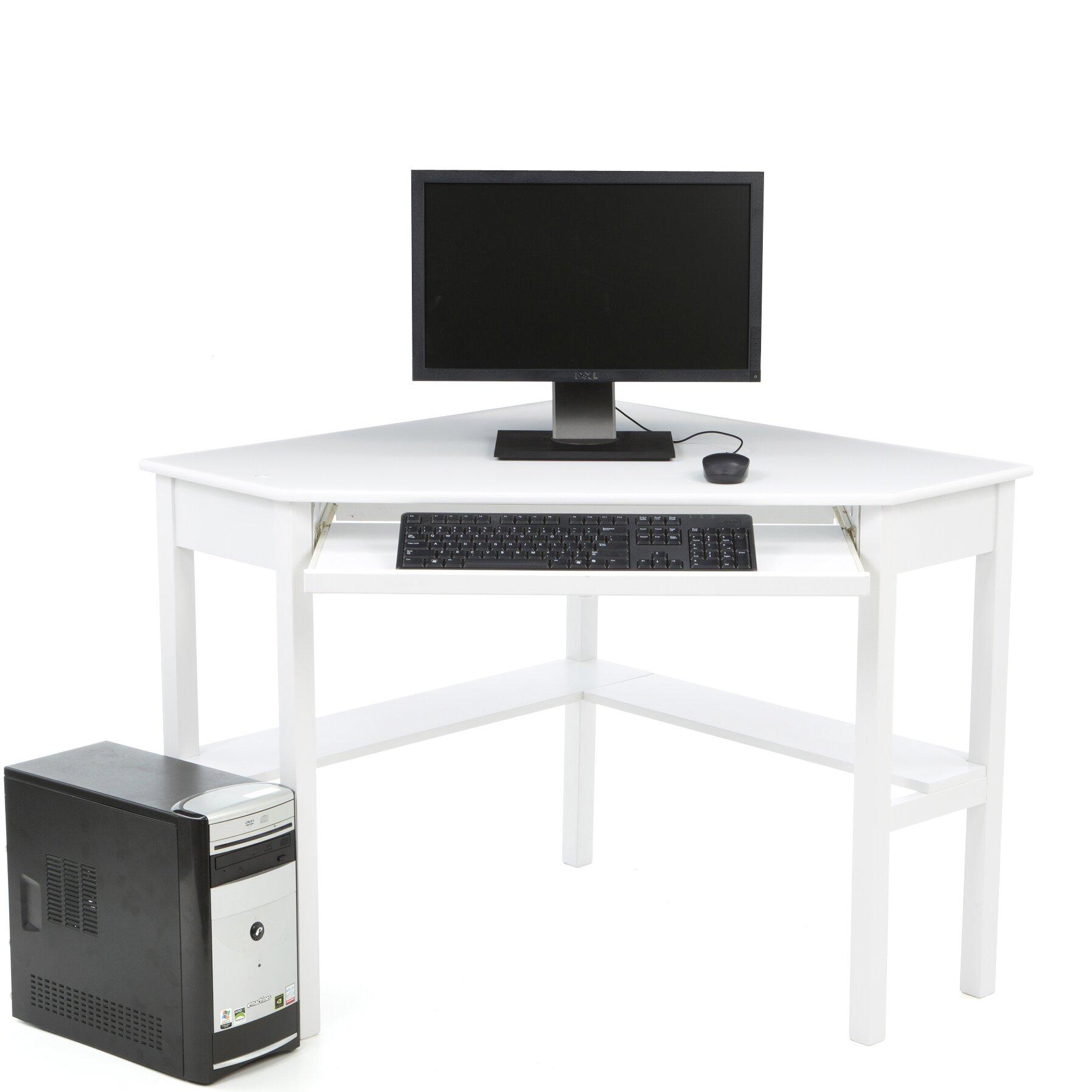 red barrel studio levin computer corner desk in white reviews wayfair. Black Bedroom Furniture Sets. Home Design Ideas