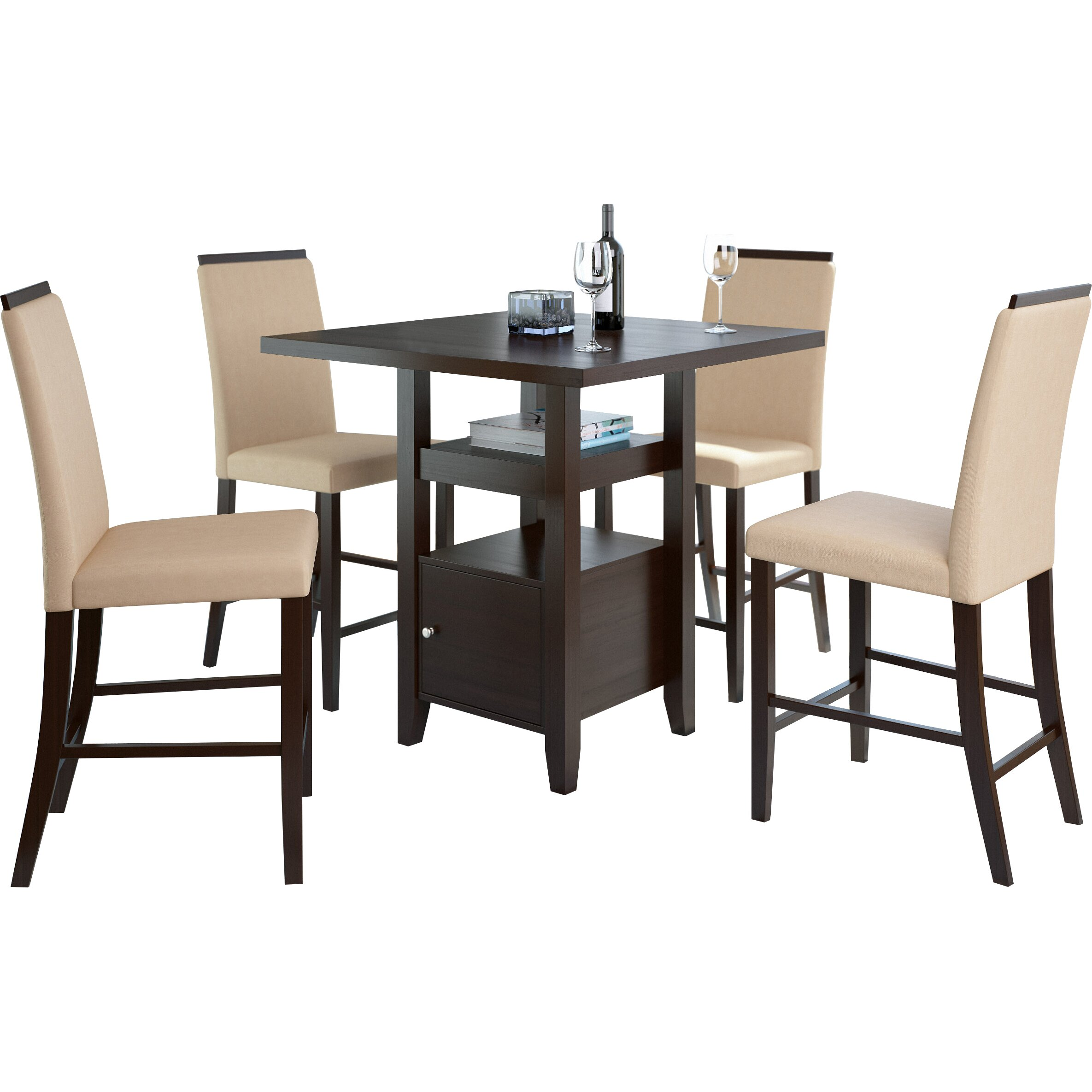 Red Dining Set: Red Barrel Studio Burgess 5 Pieces Counter Height Dining