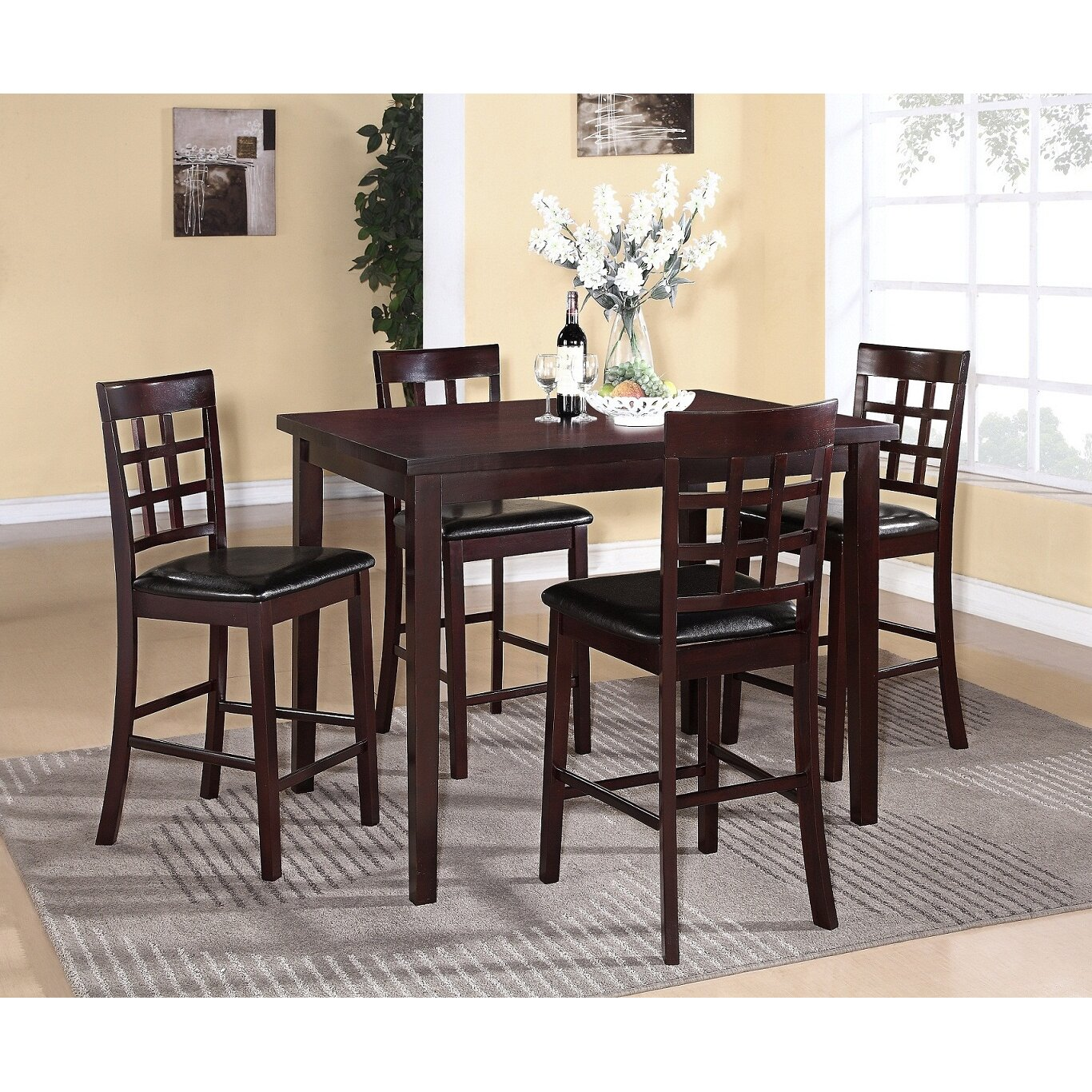 Red Dining Set: Red Barrel Studio Plymouth 5 Piece Counter Height Dining