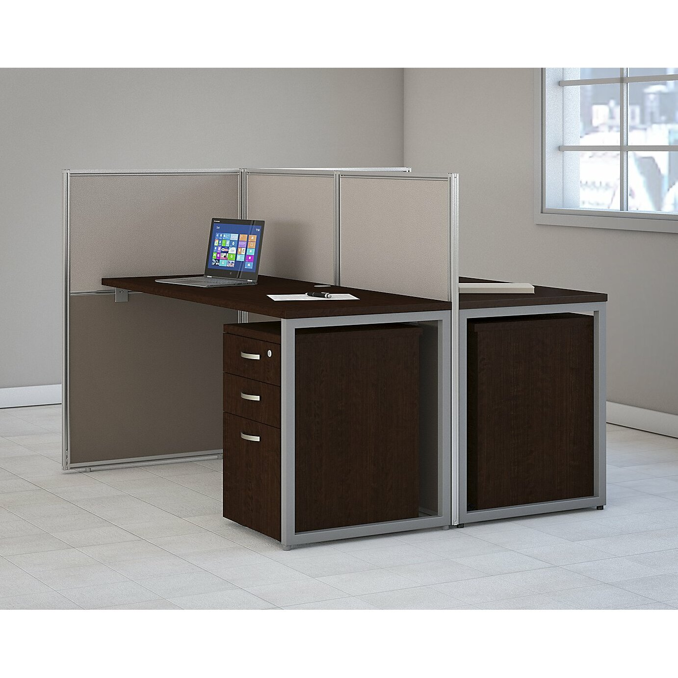 Bush Business Furniture Easy Office 4 Piece Standard Desk Office Suite Reviews Wayfair