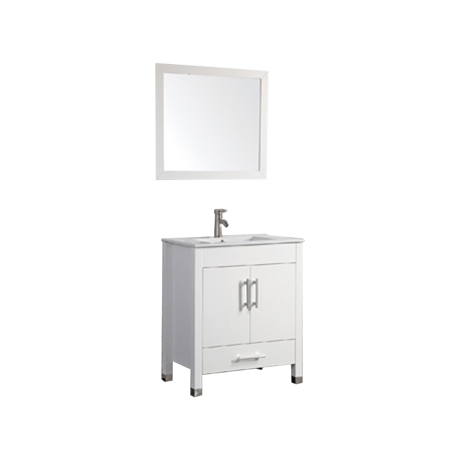 Mtdvanities monaco 30 single sink bathroom vanity set with mirror reviews wayfair Bathroom sink and vanity sets