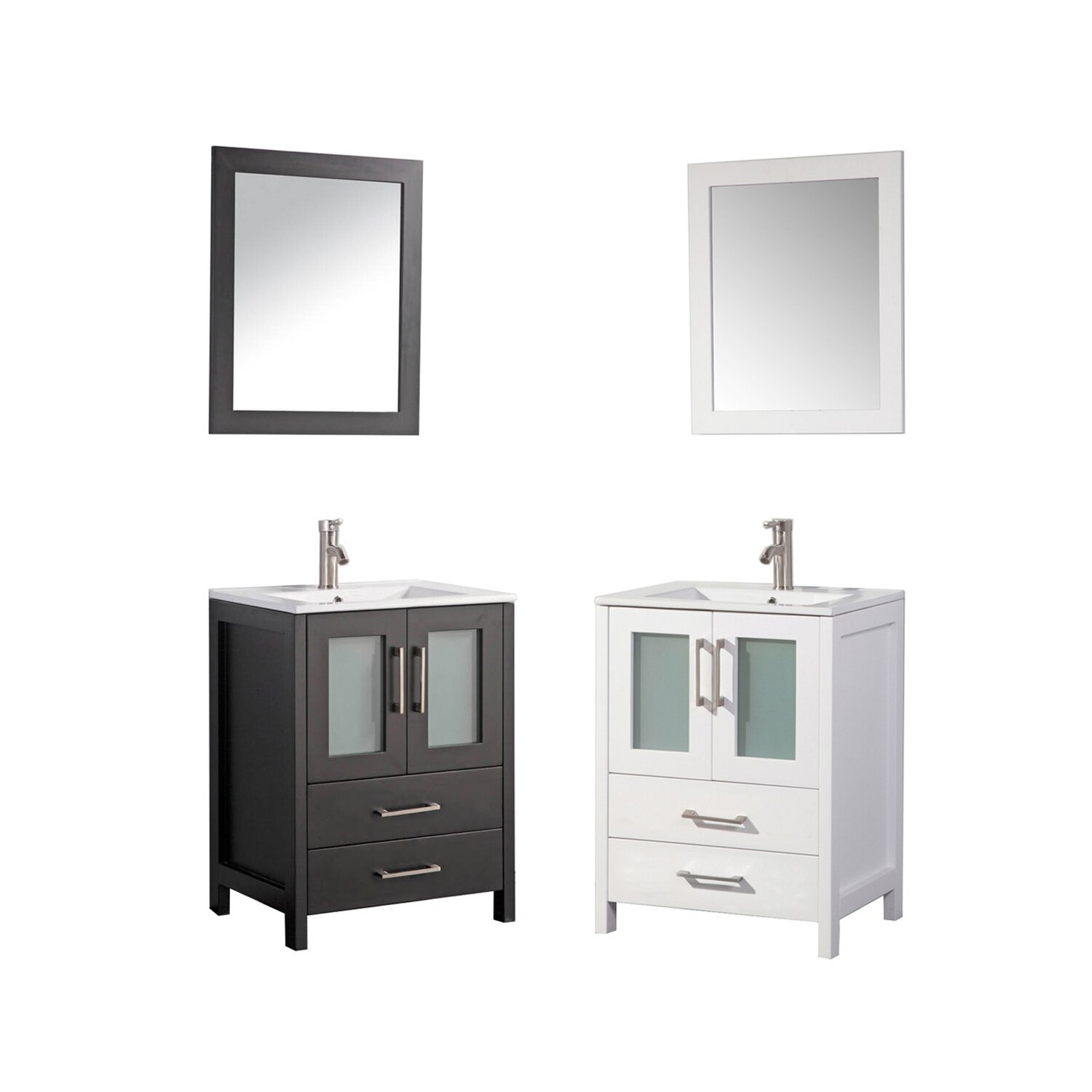 "MTDVanities Argentina 24"" Single Sink Bathroom Vanity Set with Mirror &a"