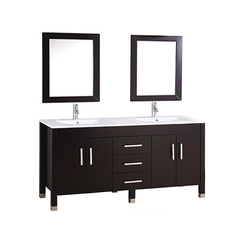 Mtdvanities Monaco 84 Double Sink Bathroom Vanity Set With Mirrors Reviews Wayfair