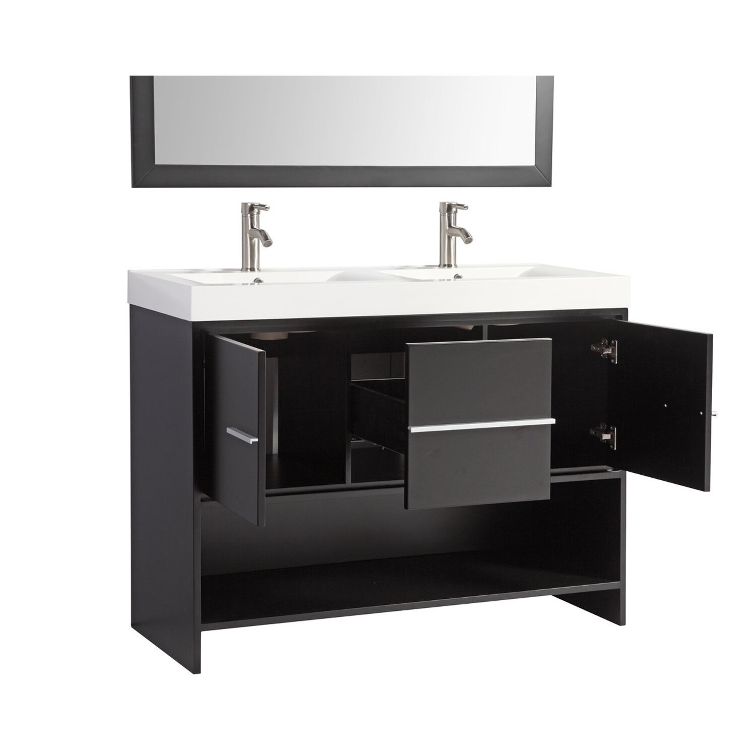 Mtdvanities belarus 48 double sink bathroom vanity set with mirror reviews wayfair Bathroom sink and vanity sets