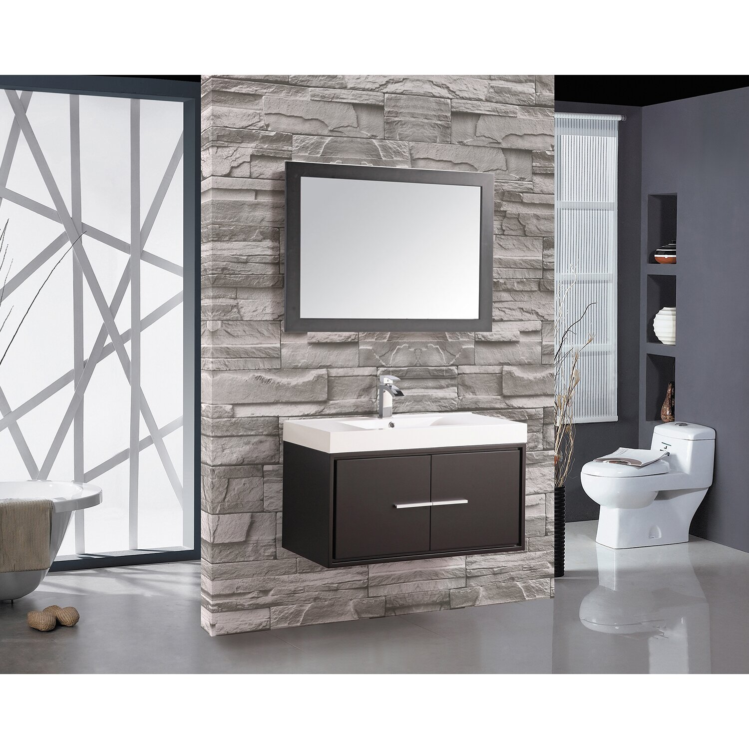 Mtdvanities Cypress 36 Single Floating Bathroom Vanity Set With Mirror Wayfair