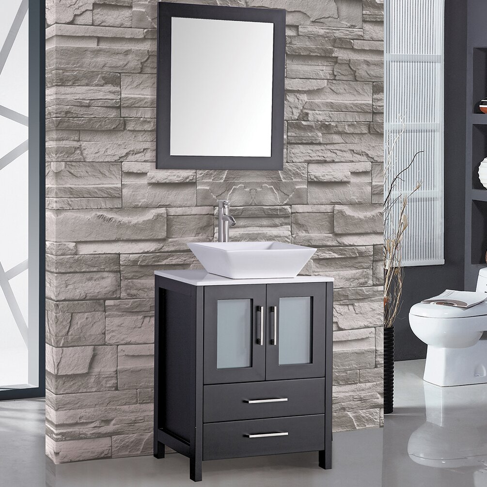 MTDVanities Jordan 24 Single Sink Bathroom Vanity Set With Mirror