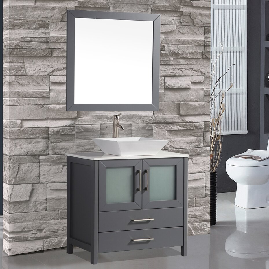 Mtdvanities tahiti 36 single modern bathroom vanity set - Modern vanity mirrors for bathroom ...